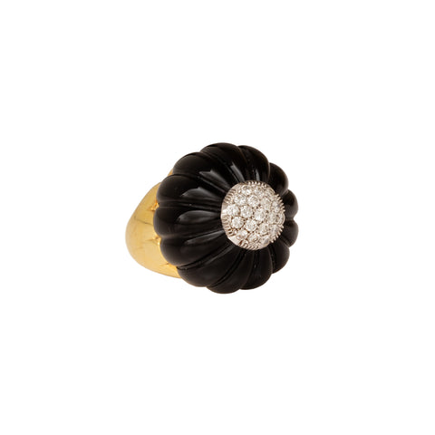 Onyx Gold & Diamond Dome Ring - Antique & Vintage - Rings | Broken English Jewelry