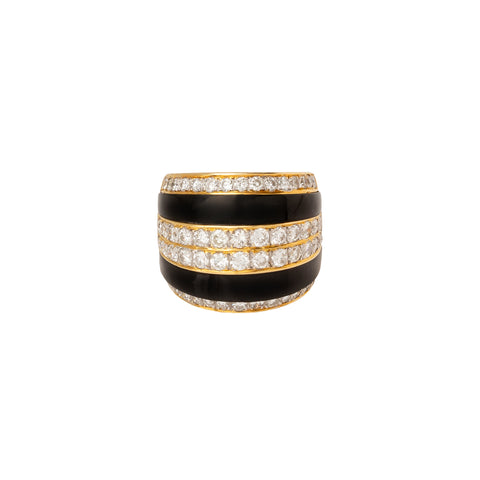 Onyx, Gold & Diamond Stripe Ring - Antique & Vintage - Rings | Broken English Jewelry