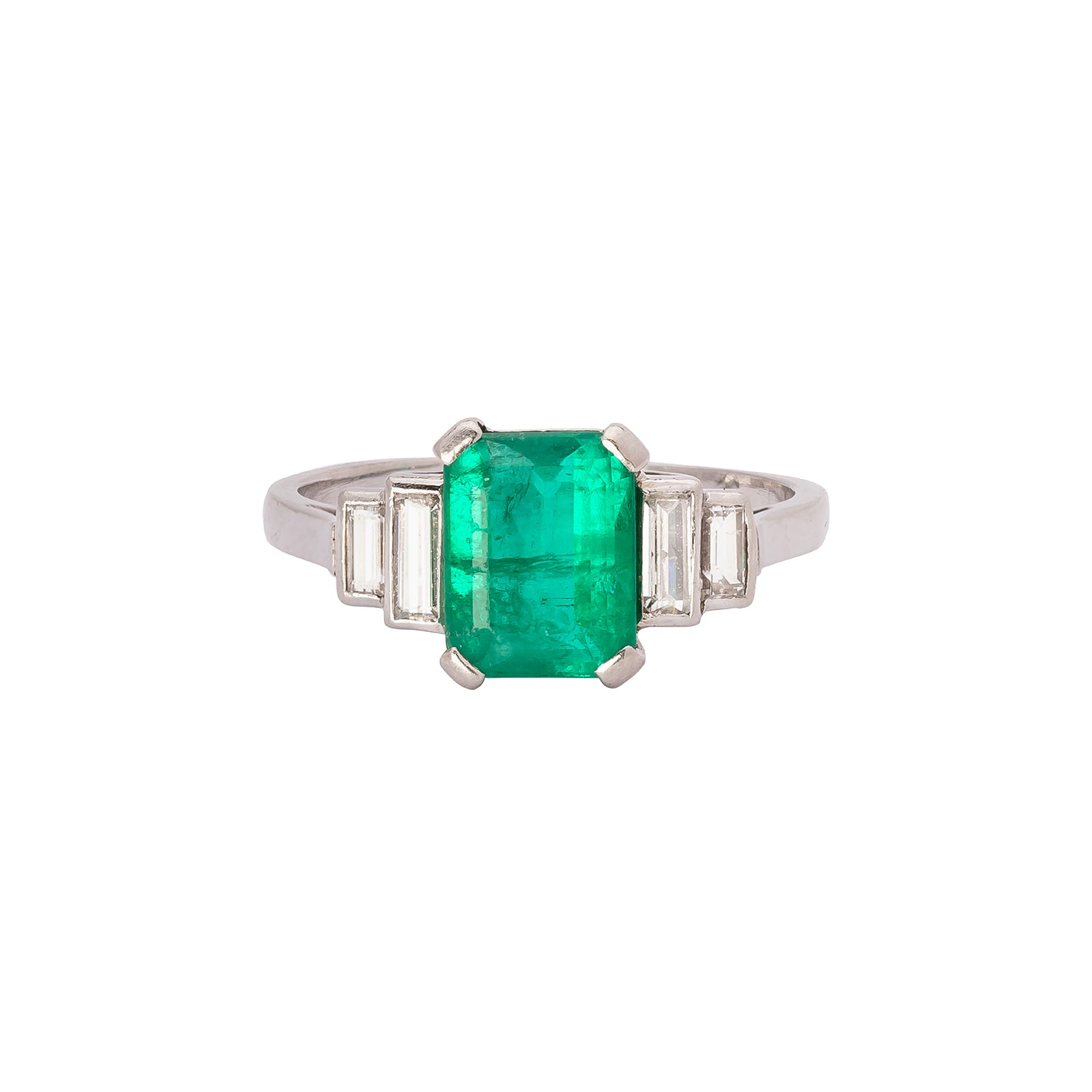 Antique & Vintage Jewelry Art Deco Emerald & Diamond Step Ring - Rings - Broken English Jewelry