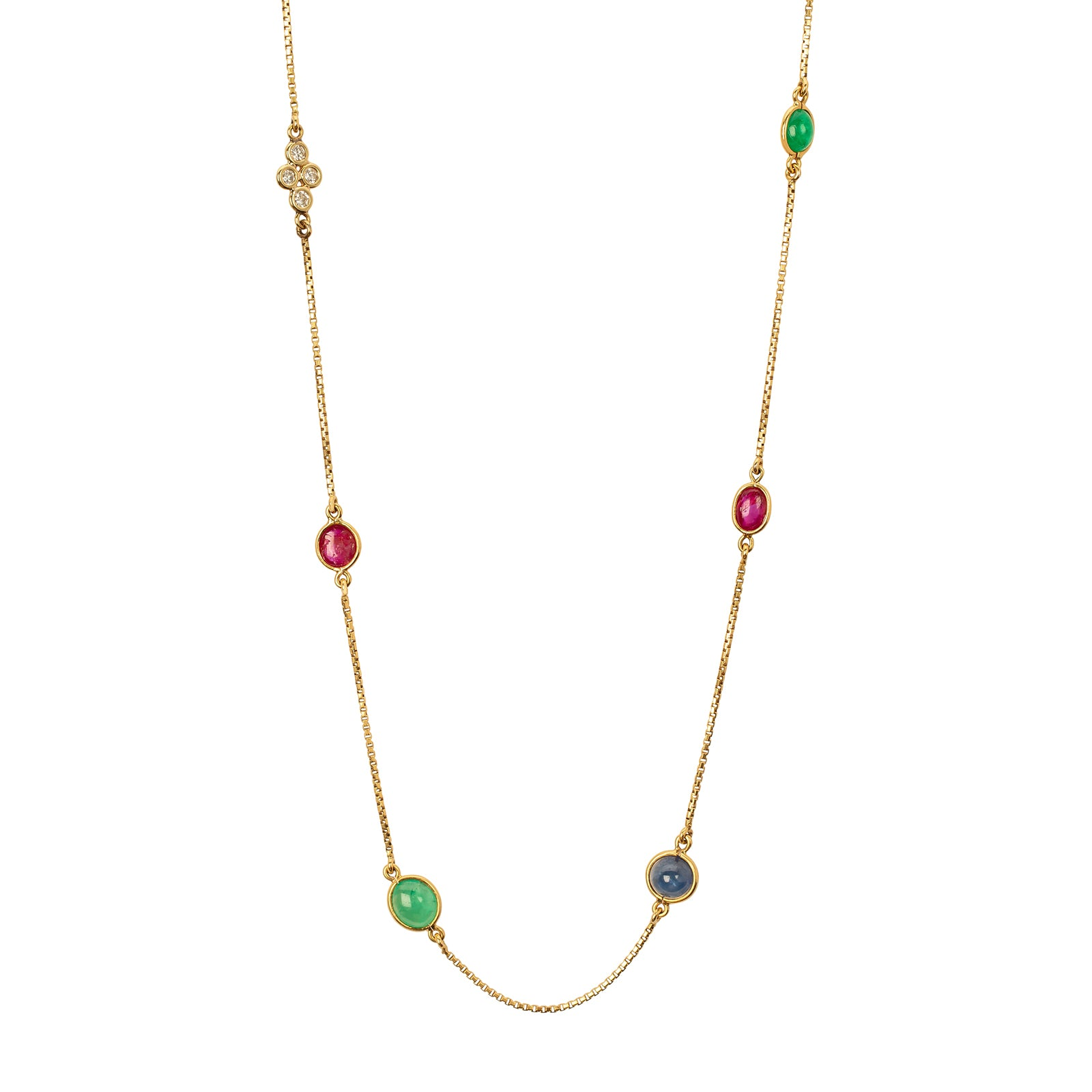 Antique & Vintage Jewelry David Webb Multi Color Gemstone Long Necklace - Necklaces - Broken English Jewelry