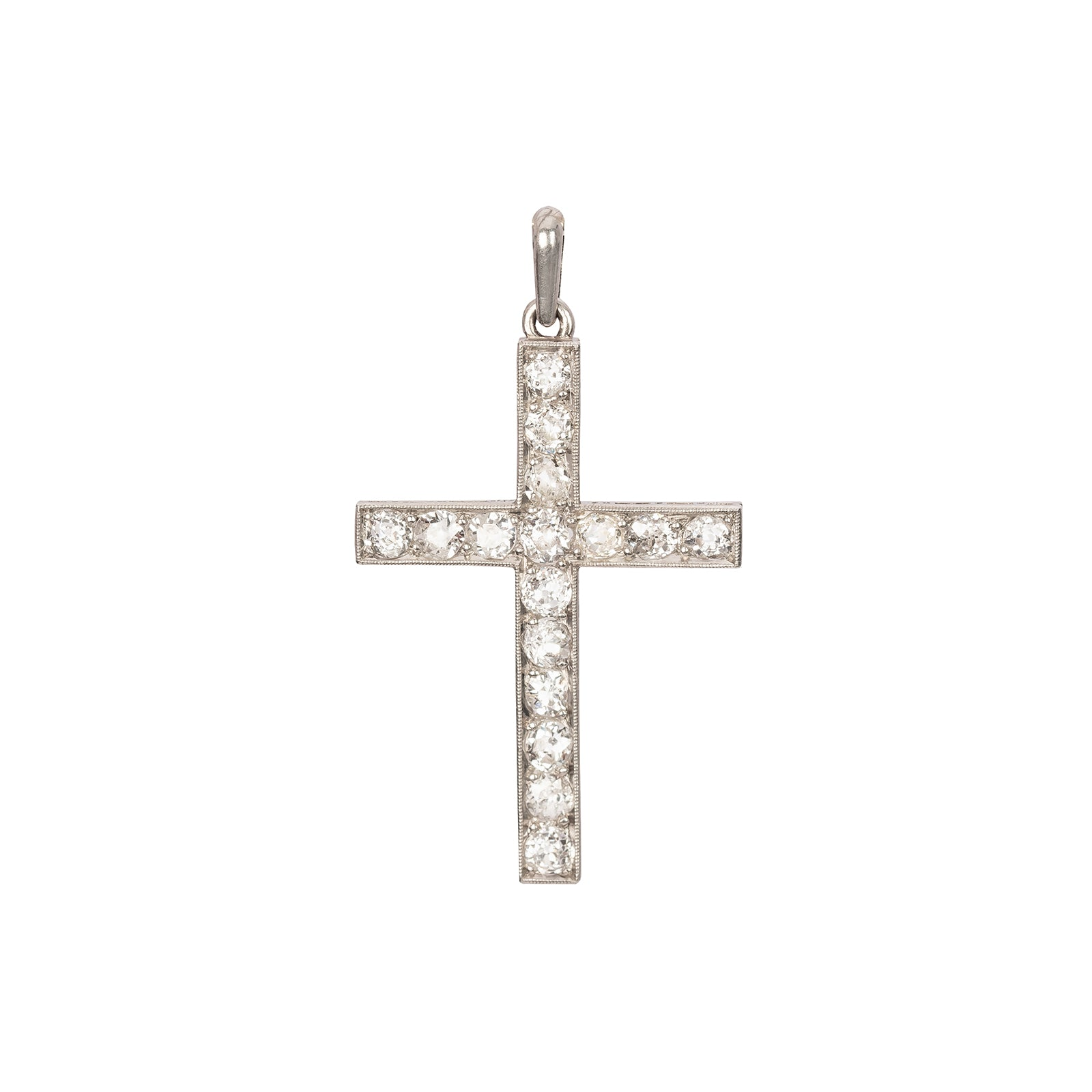 Antique & Vintage Jewelry Edwardian Platinum Diamond Cross Pendant - Charms & Pendants - Broken English Jewelry