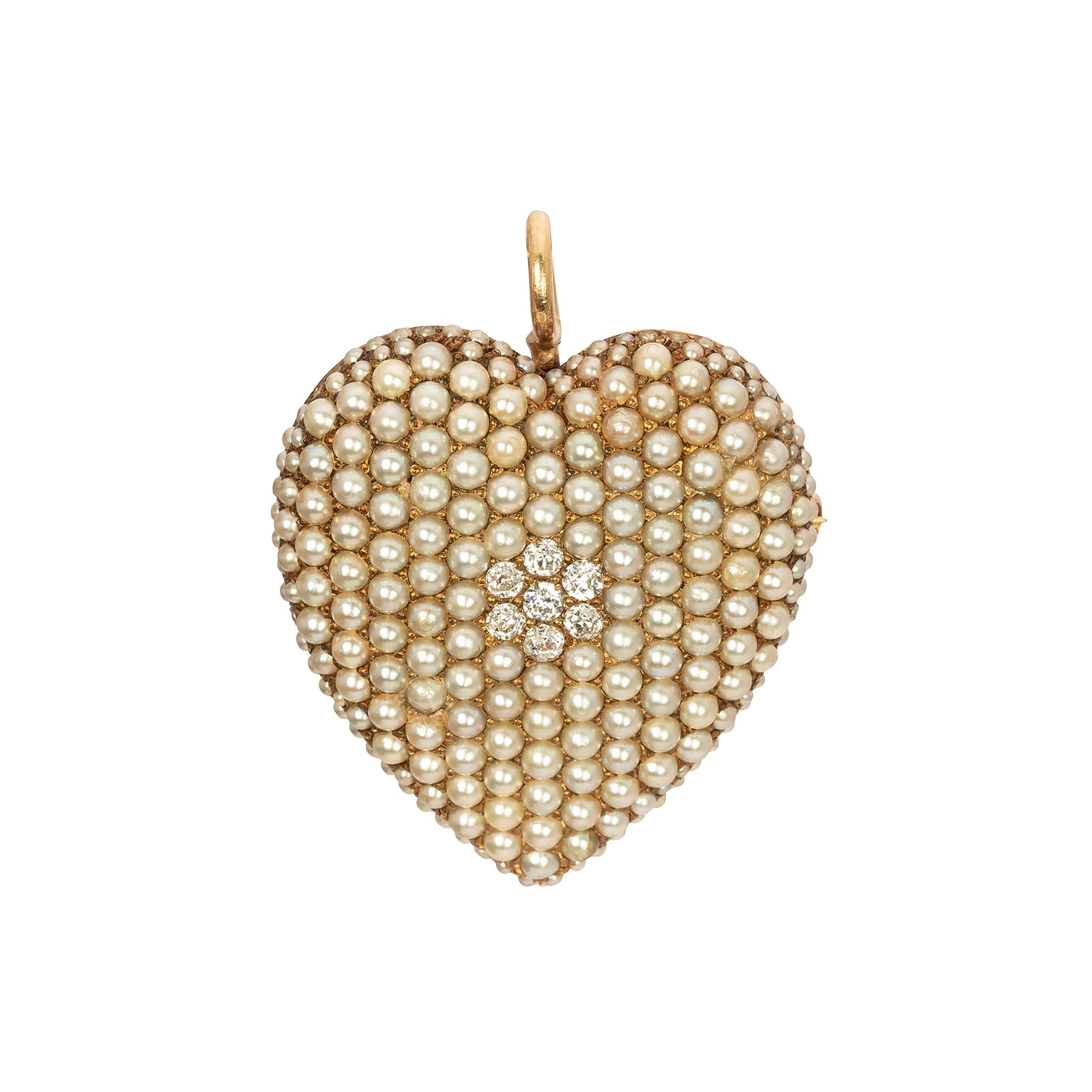 Antique & Vintage Jewelry Heart Shaped Pearl Diamond Pendant & Pin - Charms & Pendants - Broken English Jewelry