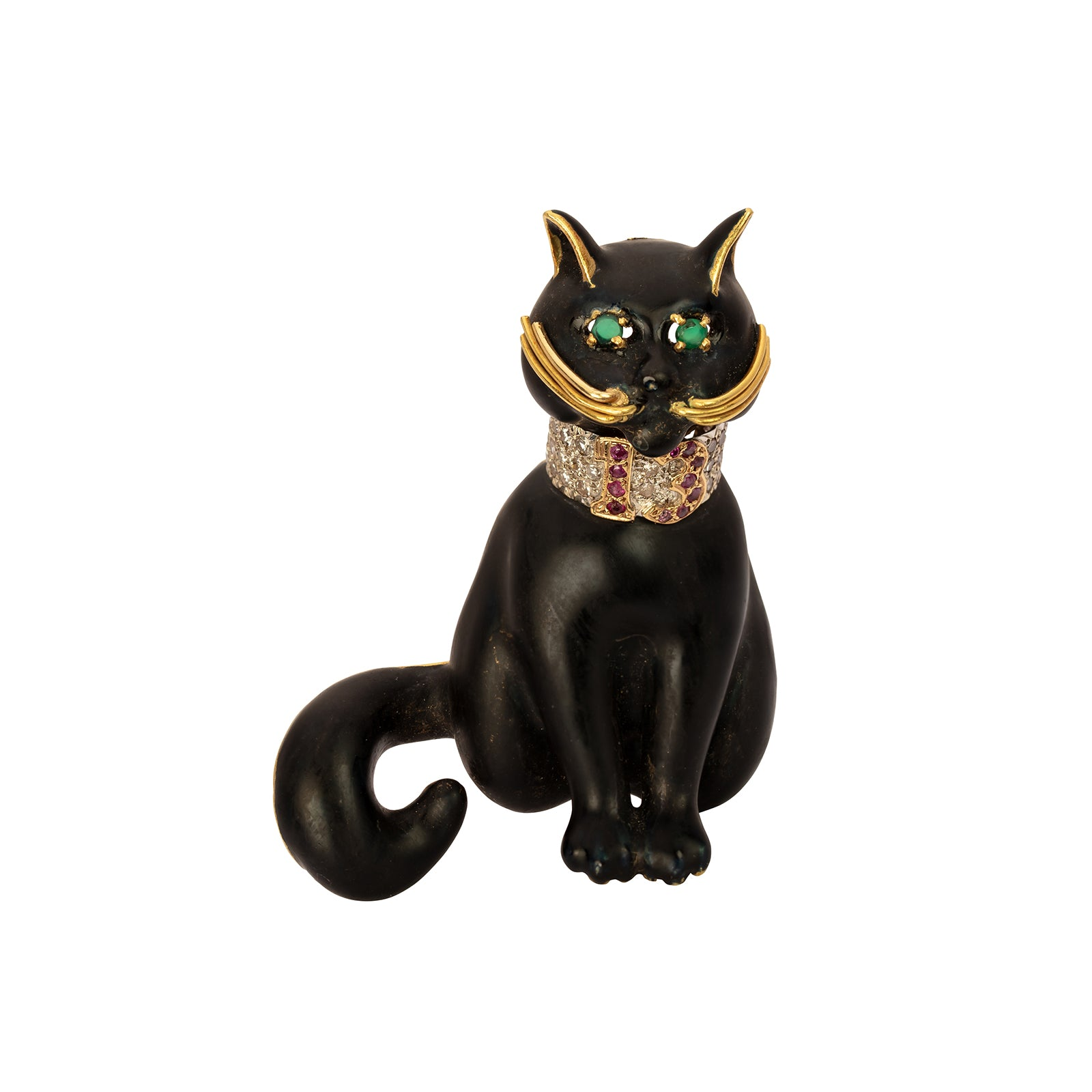 Moba Black Enamel Cat Pin
