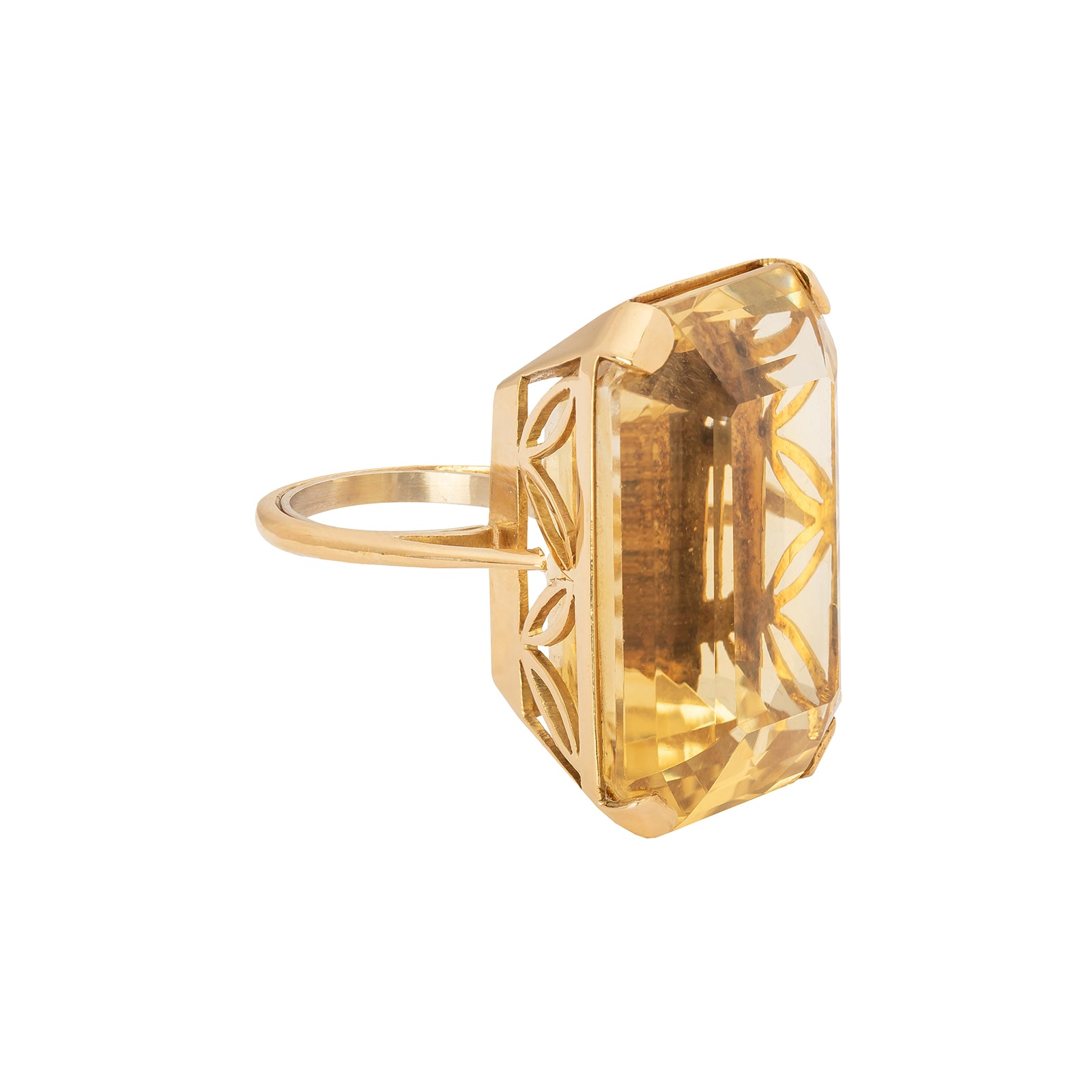 Antique & Vintage Jewelry Citrine Gold Ring - Rings - Broken English Jewelry