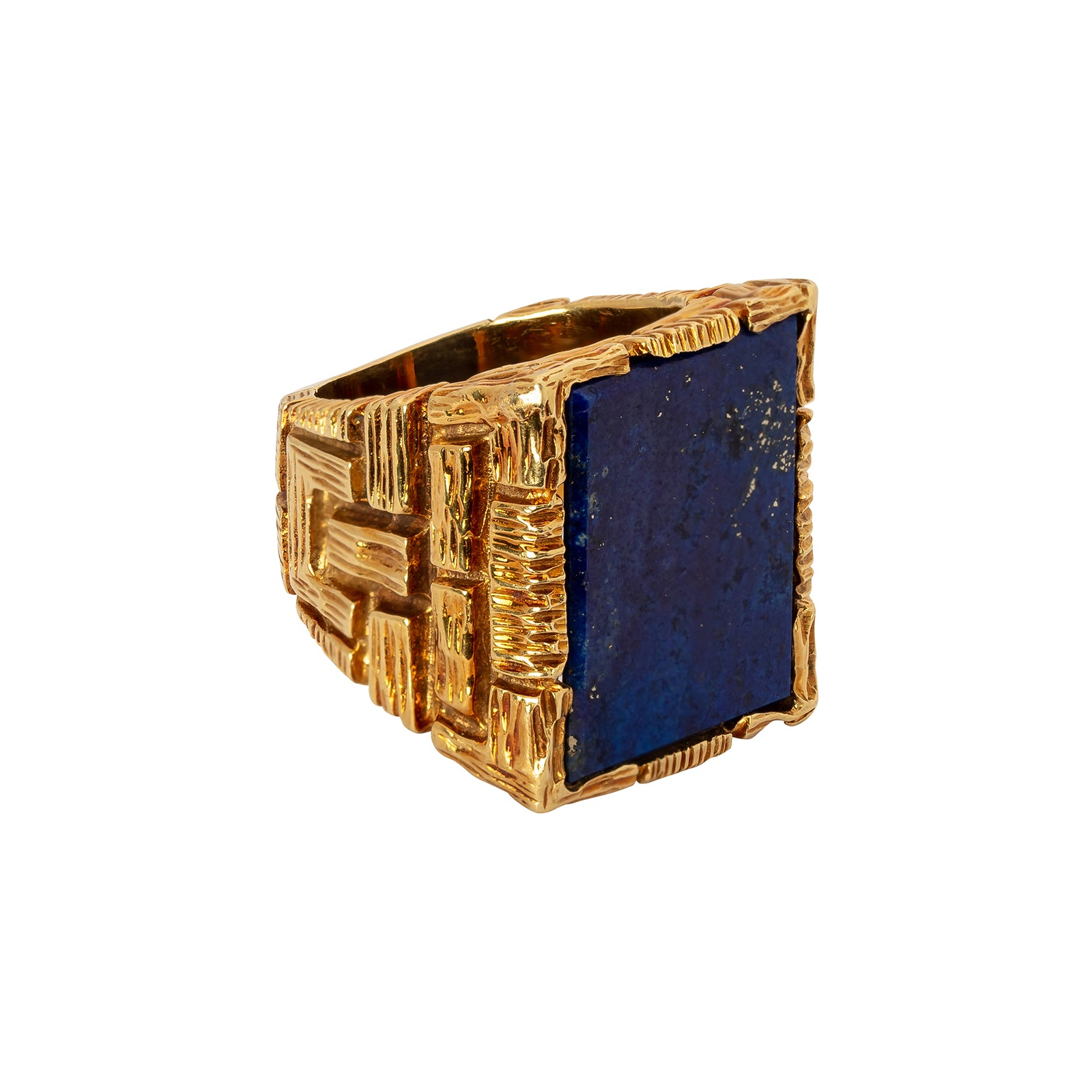 Antique & Vintage Jewelry Rectangular Lapis Lazuli Ring - Rings - Broken English Jewelry