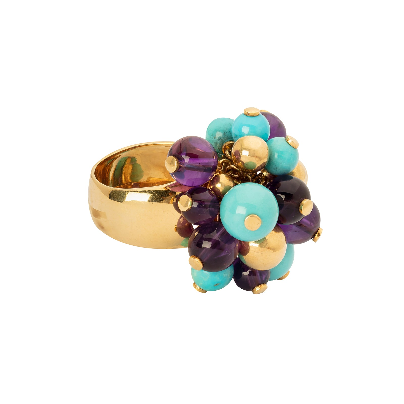 Antique & Vintage Jewelry Turquoise & Amethyst Bead Tassel Ring - Rings - Broken English Jewelry