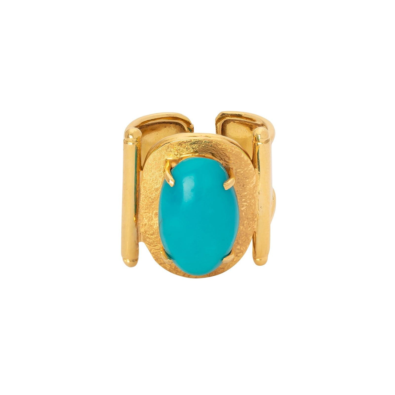 Antique & Vintage Jewelry Gold Oval Turquoise Ring - Rings - Broken English Jewelry
