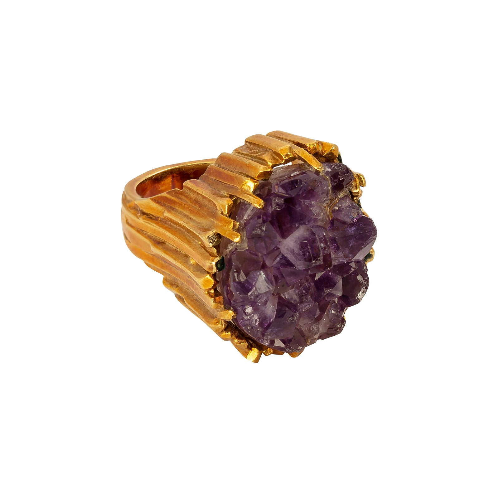 Antique & Vintage Jewelry Raw Amethyst Ring - Rings - Broken English Jewelry
