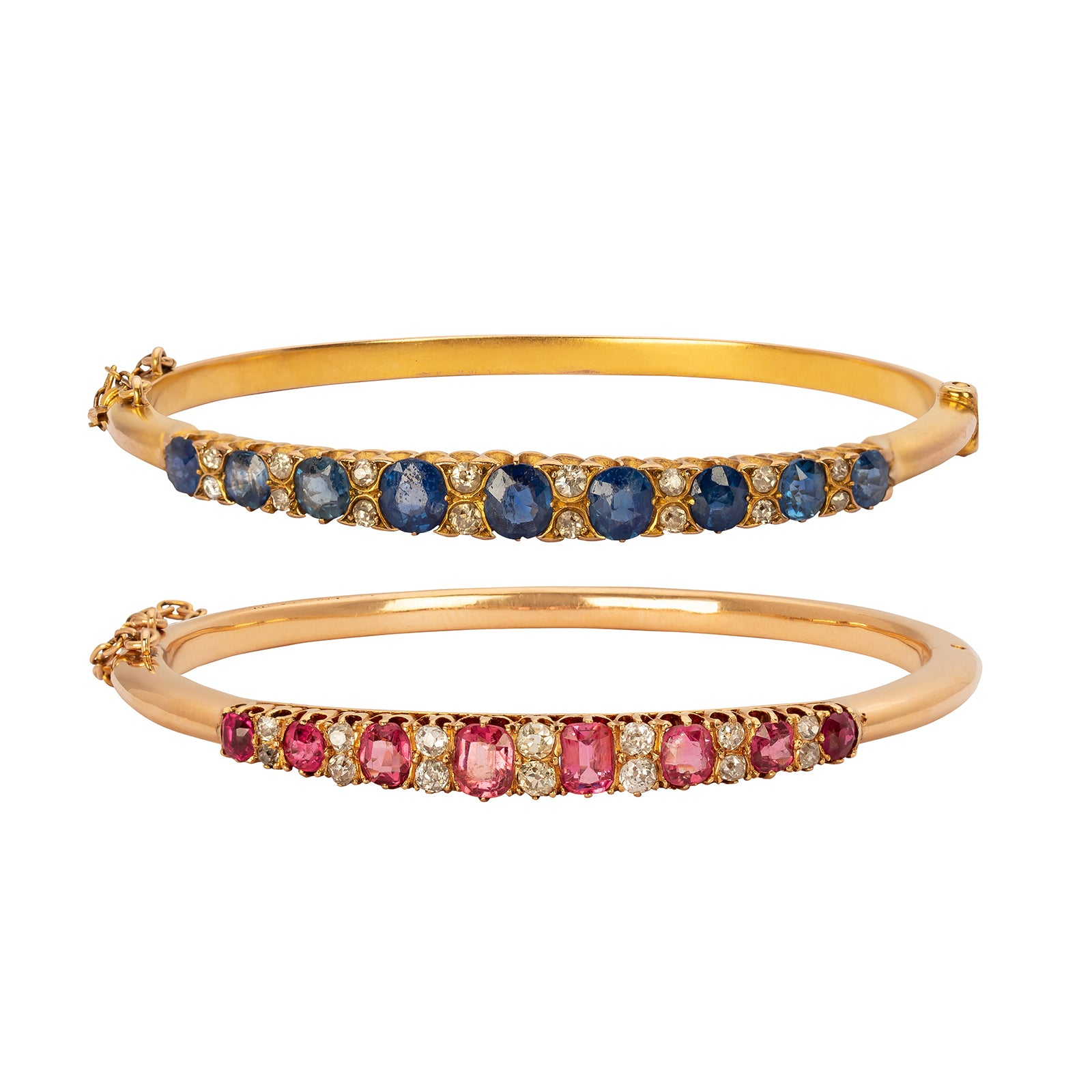 Antique & Vintage Jewelry Pair of Spinel & Sapphire Line Bangle Bracelets - Bracelets - Broken English Jewelry