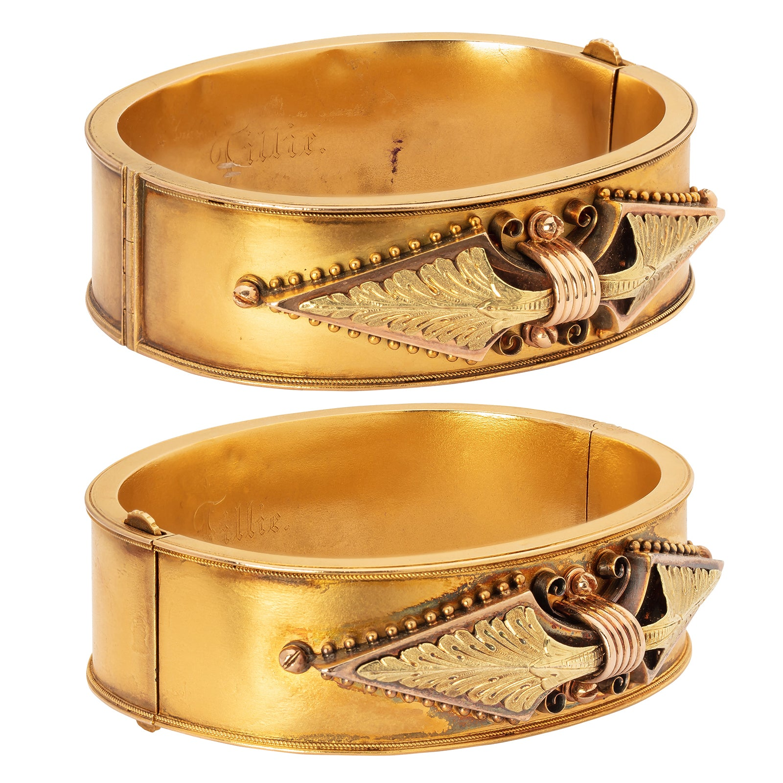 Antique & Vintage Jewelry Pair of Two-Tone Gold Bangle Bracelets - Bracelets - Broken English Jewelry