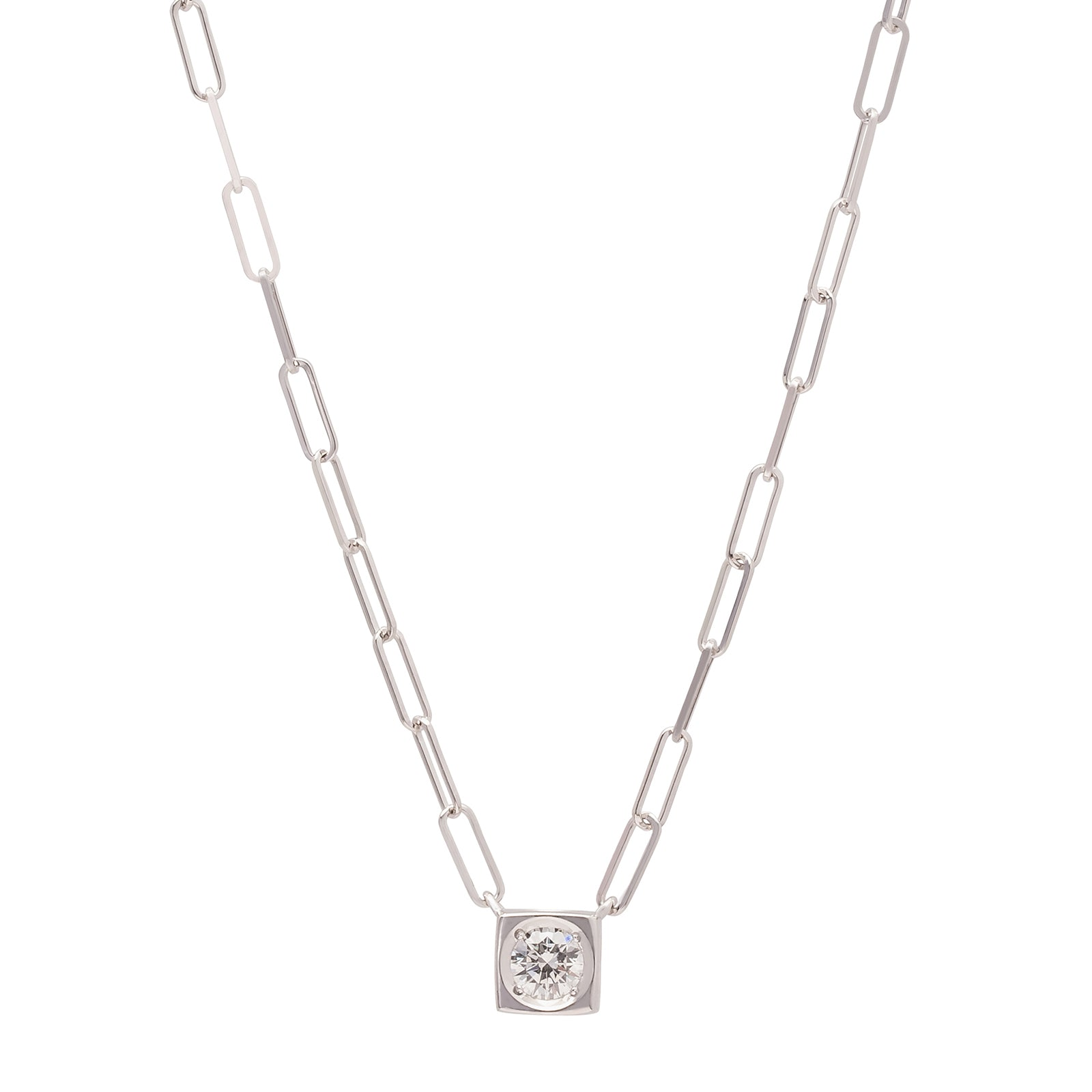 Dinh Van Le Cube Diamant Large Neckalce - White Gold - Necklaces - Broken English Jewelry
