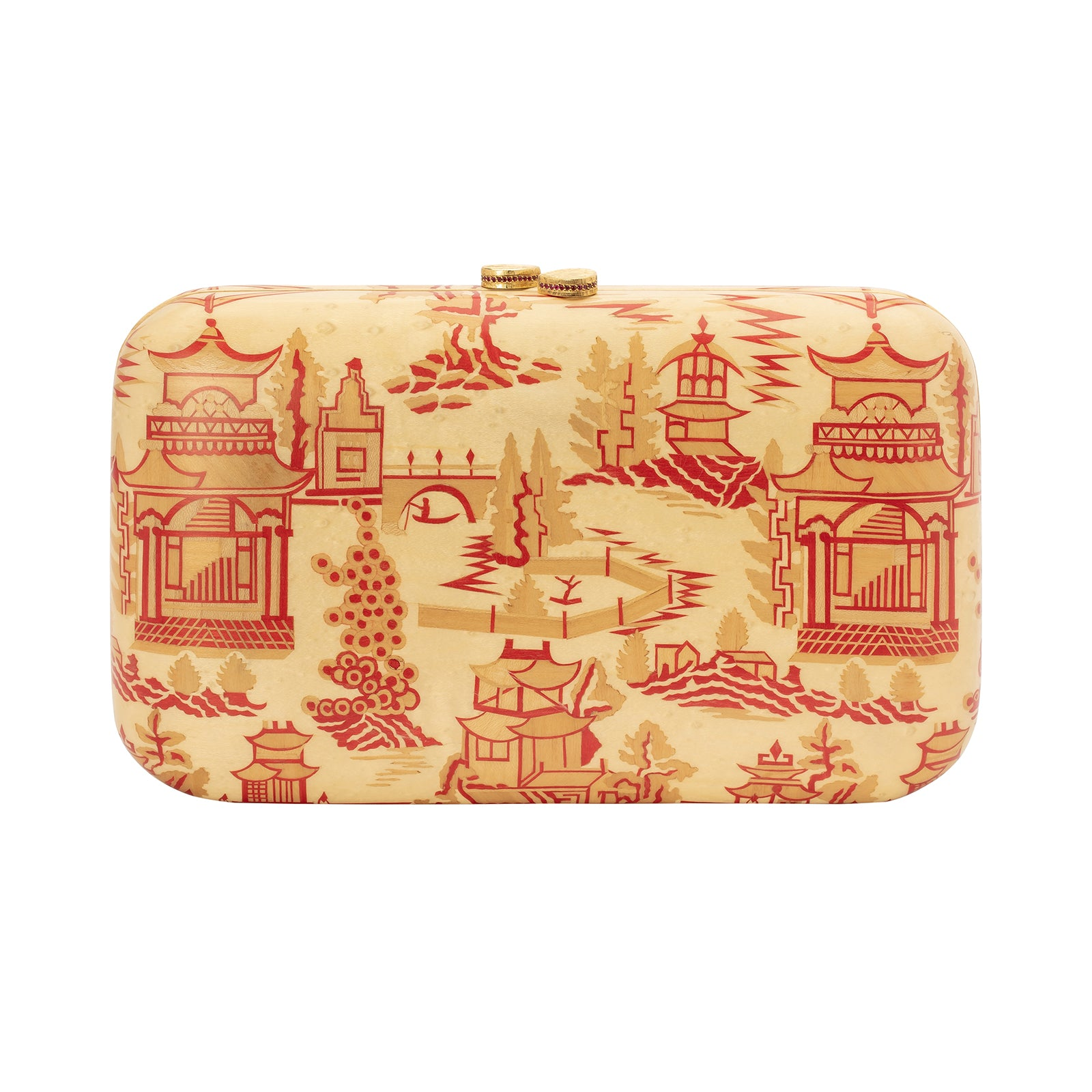 Silvia Furmanovich Marquetry Chinese Temple Clutch - Accessories - Broken English Jewelry