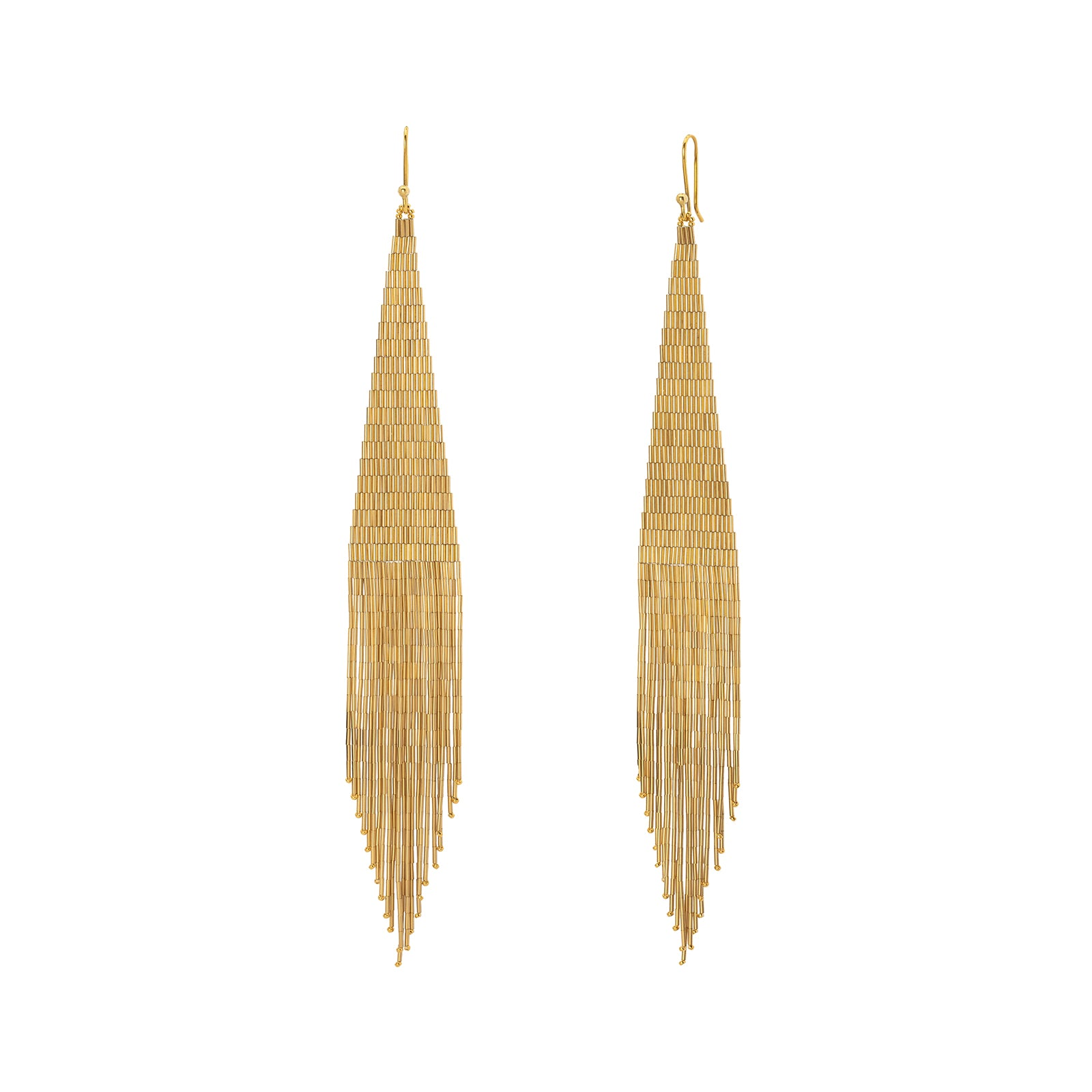Lisa Eisner Jewelry Medium Fringe Earrings - Gold - Earrings - Broken English Jewelry