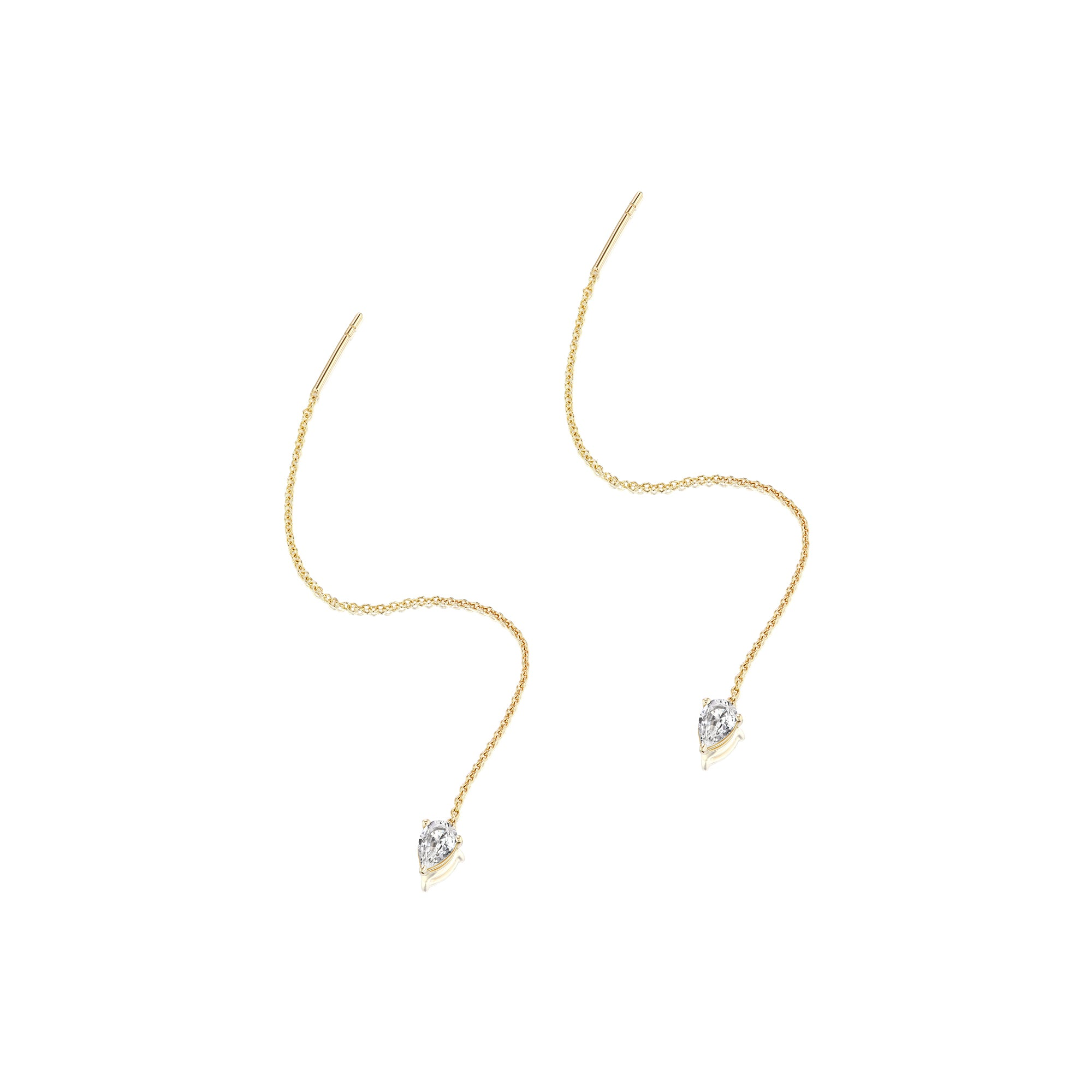 Altruist Pirum Threader - White Sapphire & Gold - Earrings - Broken English Jewelry