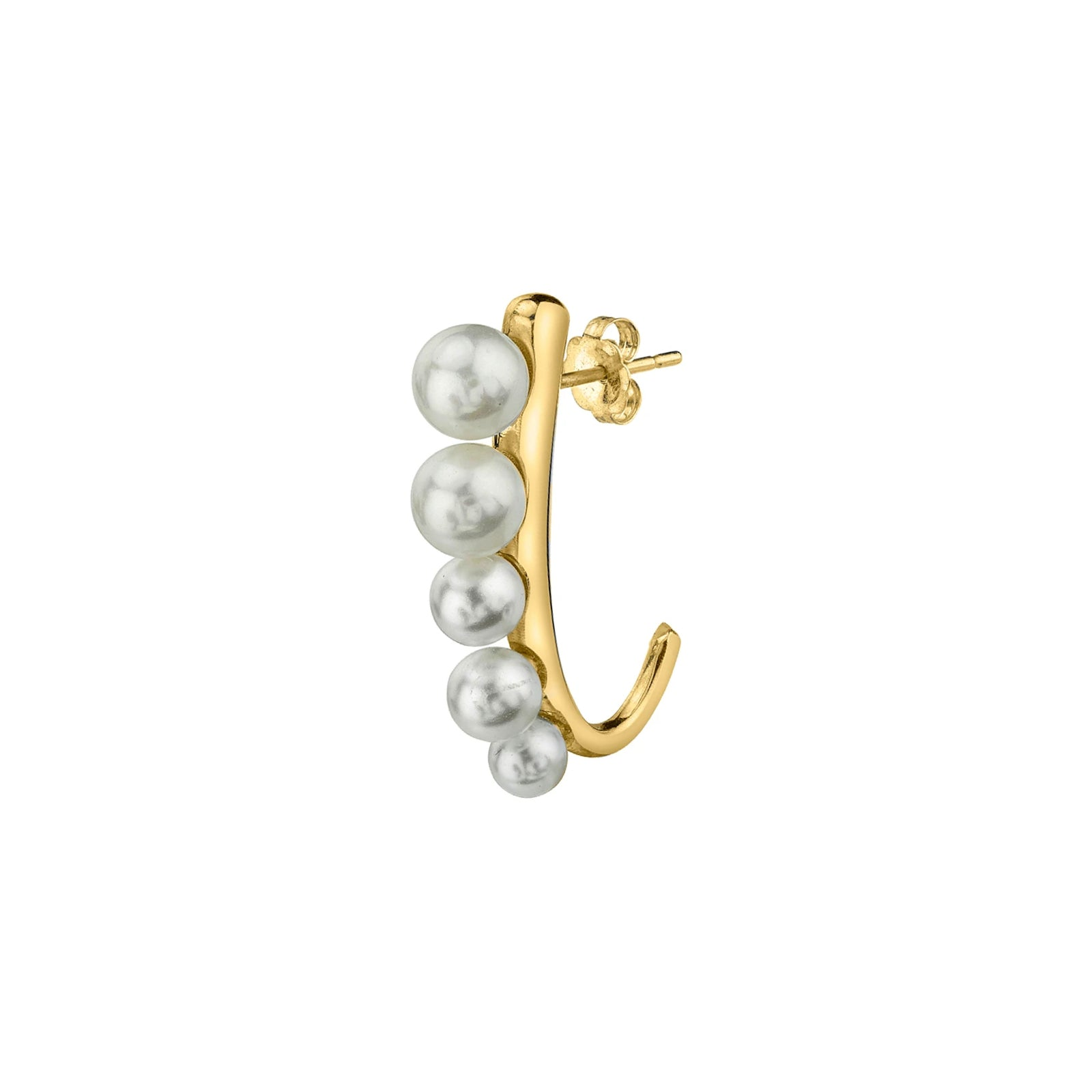 Gabriela Artigas & Company J Suspended Pearl Earring - Yellow Gold - Earrings - Broken English Jewelry