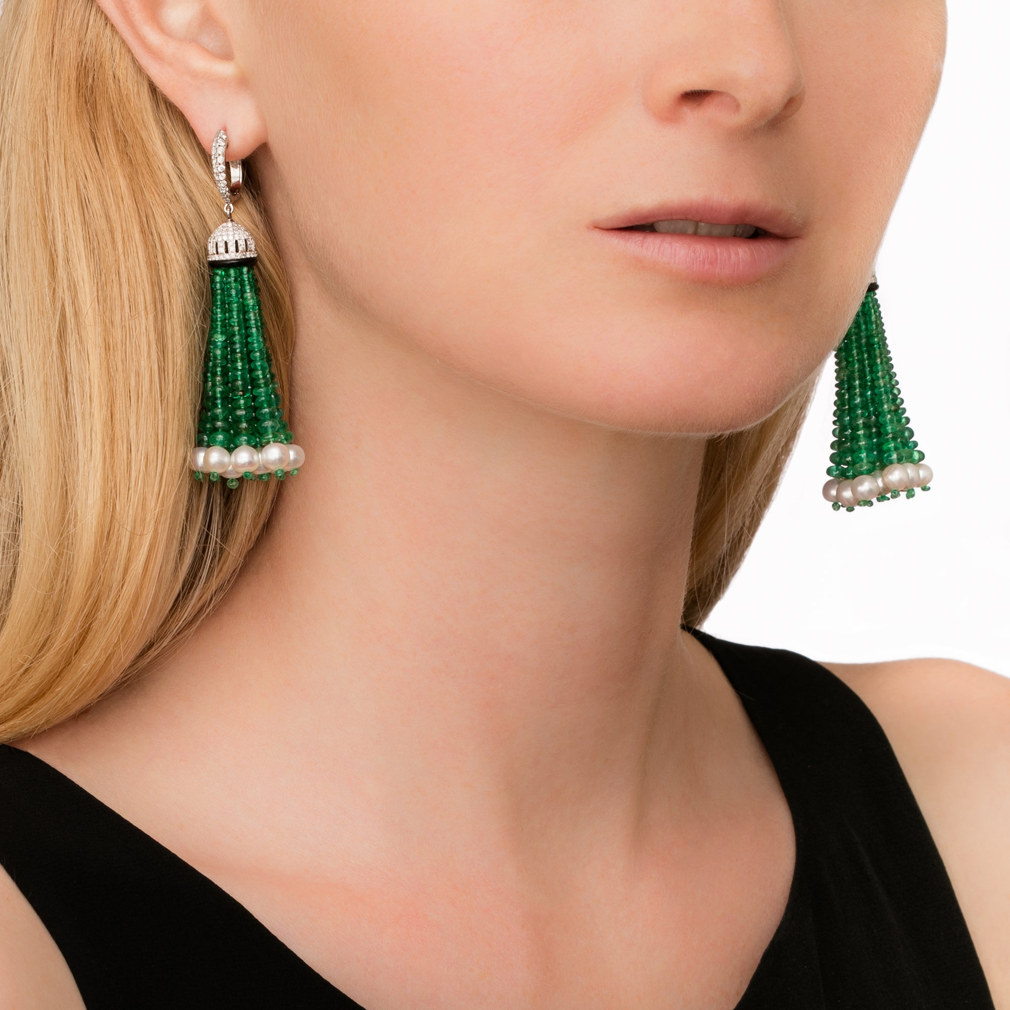 Emerald and Pearl Tassel Earrings - Legend Amrapali - Earrings | Broken English Jewelry
