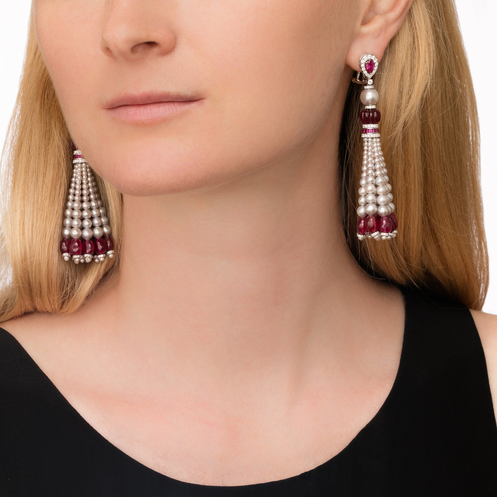 Ruby and Pearl Tassel Earrings - Legend Amrapali - Earrings | Broken English Jewelry