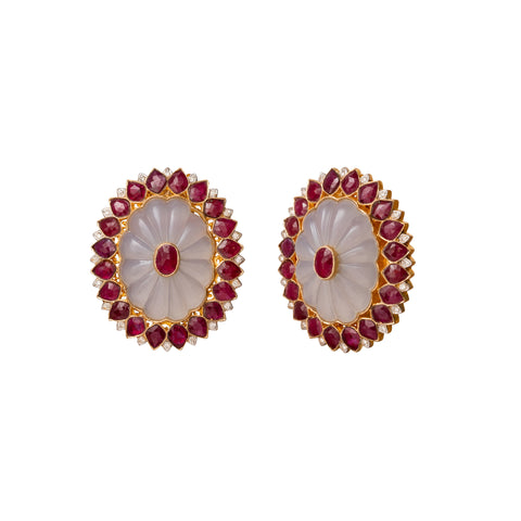 Diamond Ruby and Chalcedony Earrings - Legend Amrapali - Earrings | Broken English Jewelry