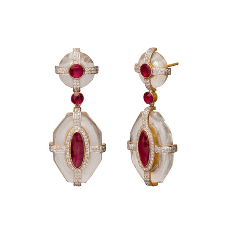 Diamond Ruby and Crystal Drop Earrings - Legend Amrapali - Earrings | Broken English Jewelry