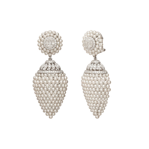 Diamond and Pearl Marquis Drop Earrings - Legend Amrapali - Earrings | Broken English Jewelry