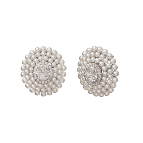 Diamond and Pearl Oval Stud Earrings - Legend Amrapali - Earrings | Broken English Jewelry