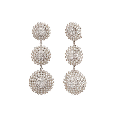 Tripple Diamond and Pearl Drop Earrings - Legend Amrapali - Earrings | Broken English Jewelry