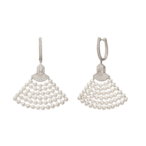 Diamond and Pearl Fan Earrings - Legend Amrapali - Earrings | Broken English Jewelry