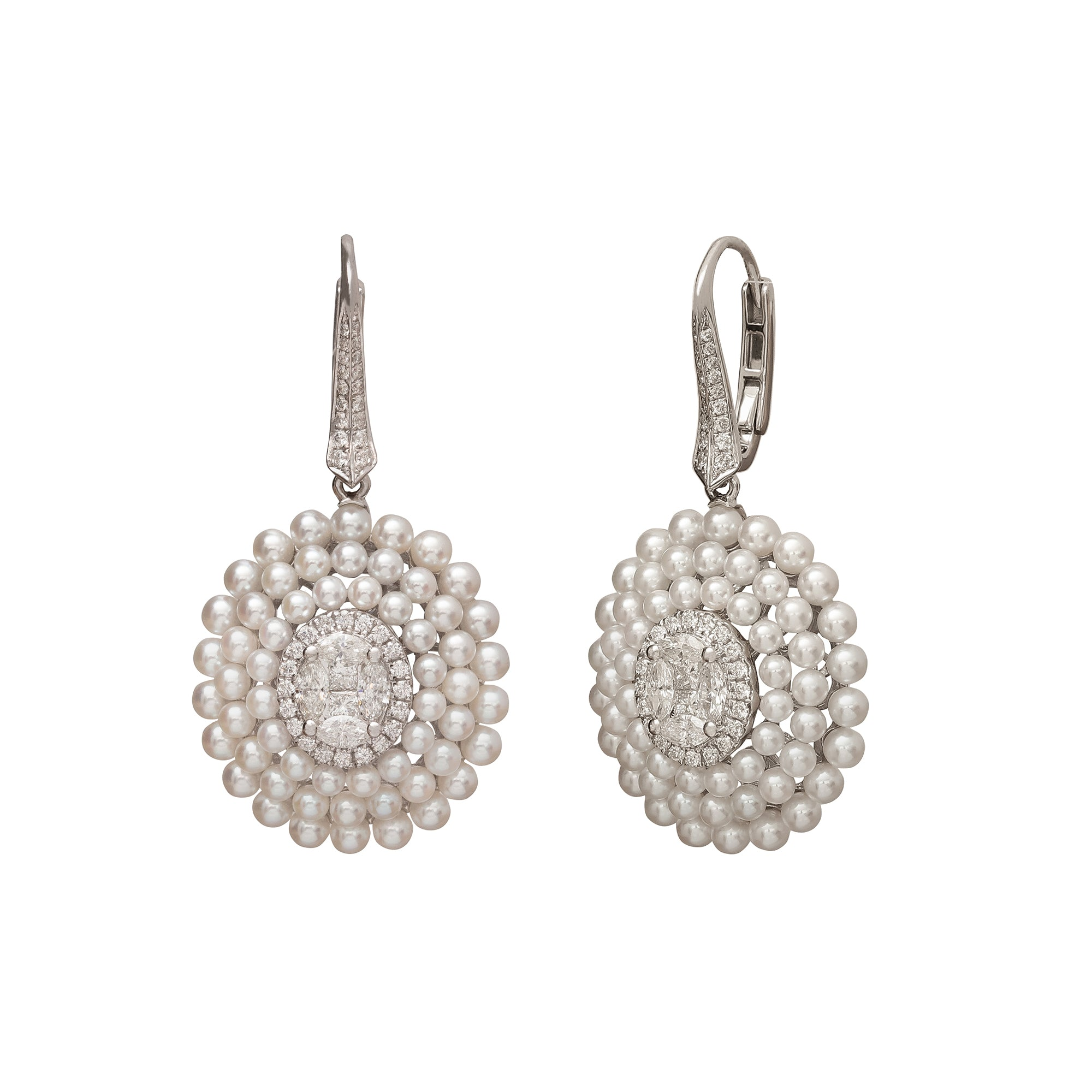 Diamond and Pearl Oval Drop Earrings - Legend Amrapali - Earrings | Broken English Jewelry