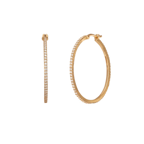 Medium Pave Hoop Earrings - Foundrae - Earrings | Broken English Jewelry