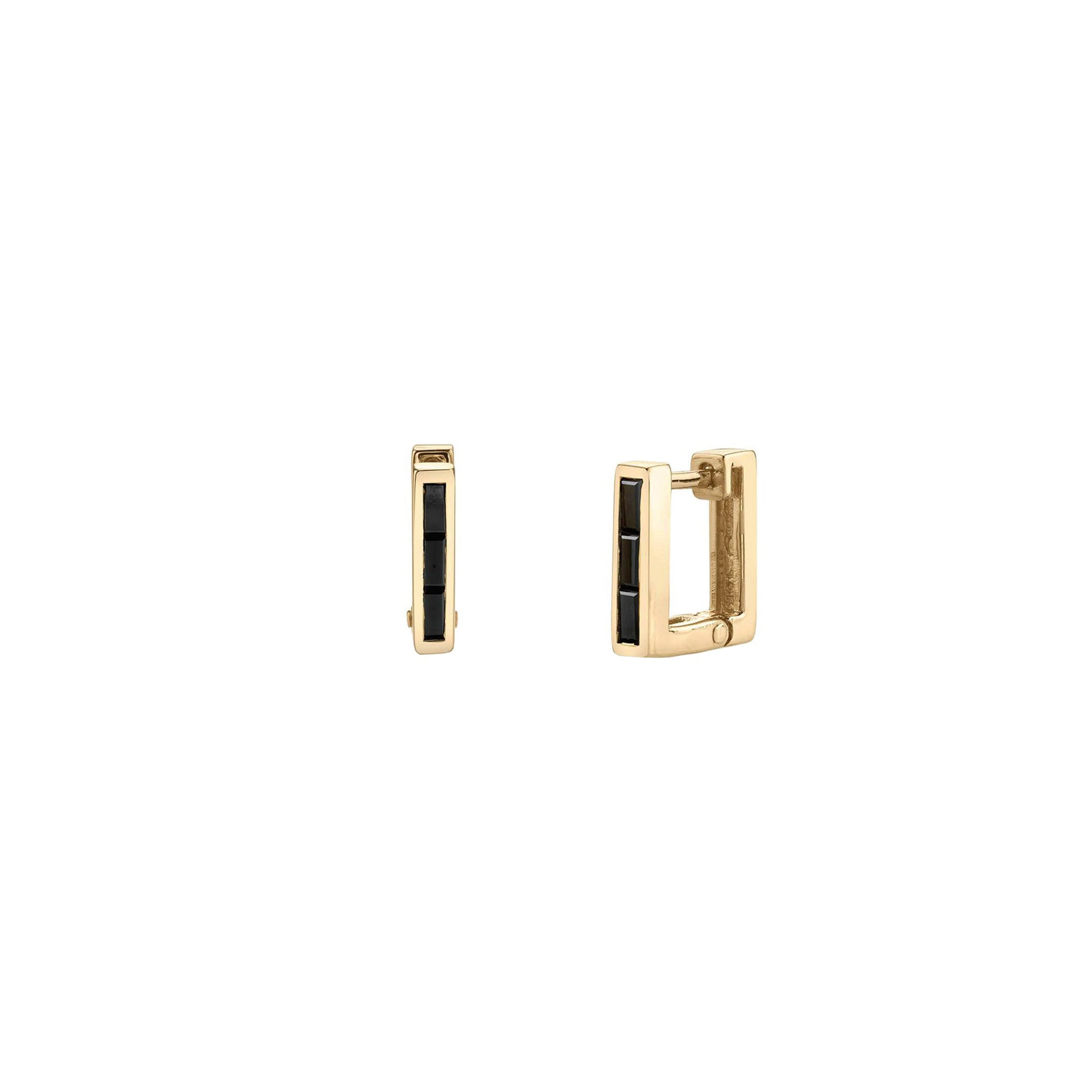 Lizzie Mandler Petite Square Huggies - Black Diamond & Gold - Earrings - Broken English Jewelry