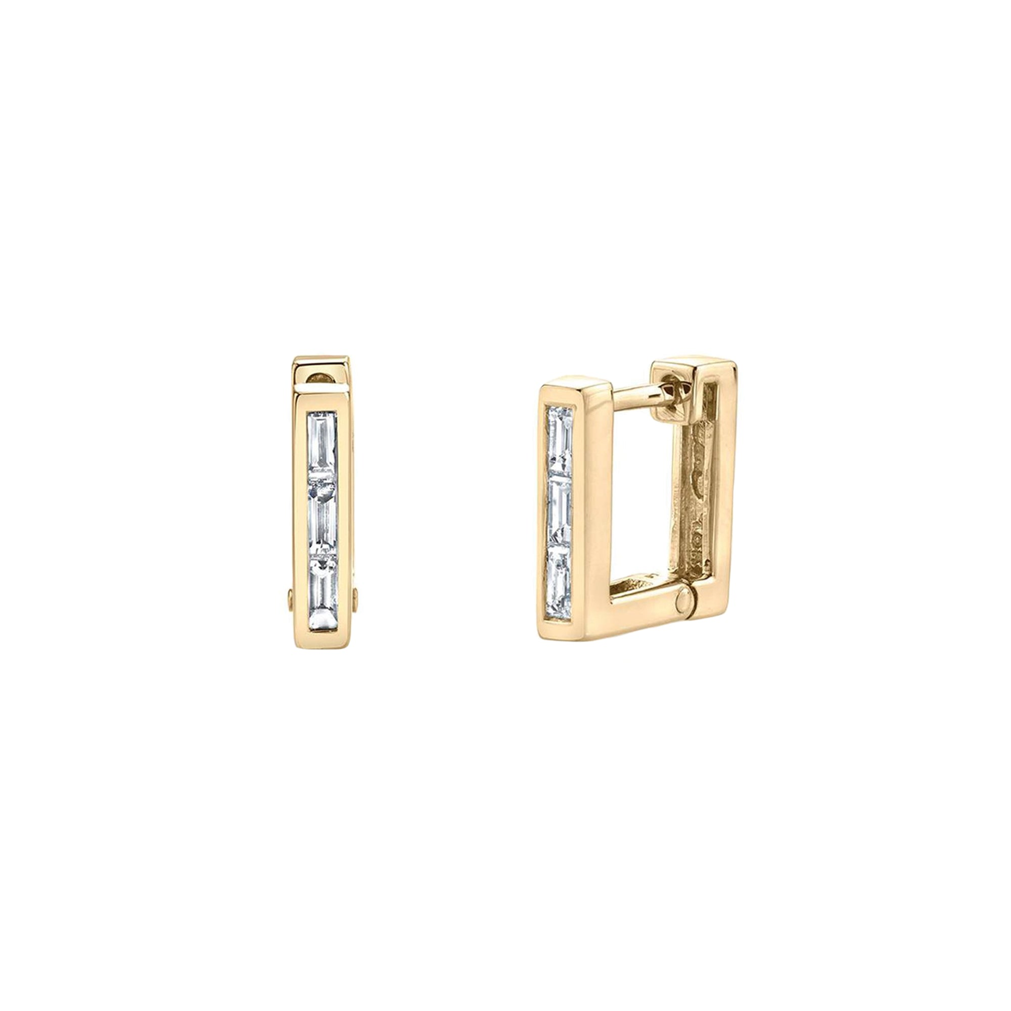 Lizzie Mandler Baguette Diamond Square Huggies - Earrings - Broken English Jewelry