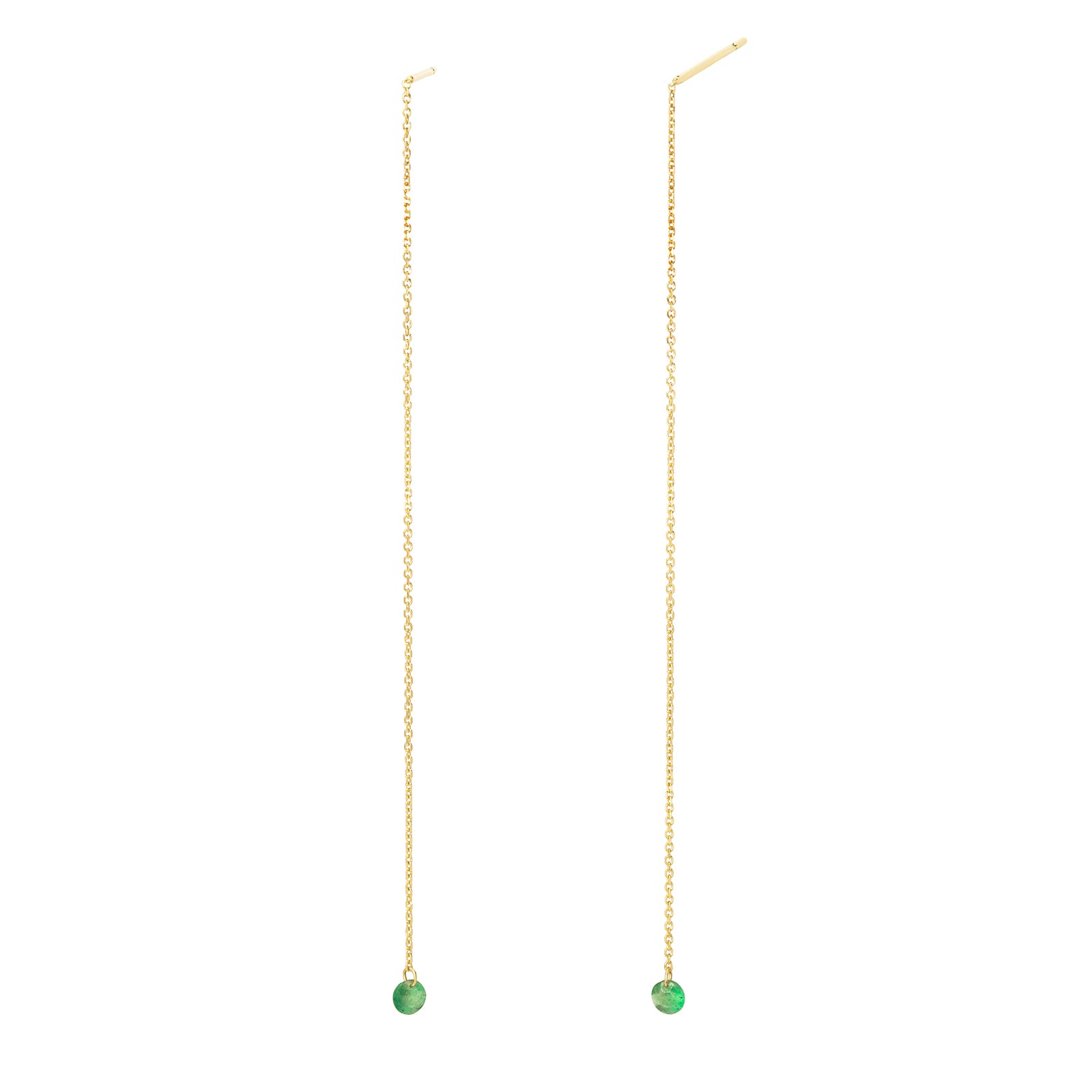 Persée Paris Chain Emerald Drop Earrings - Yellow Gold - Earrings - Broken English Jewelry