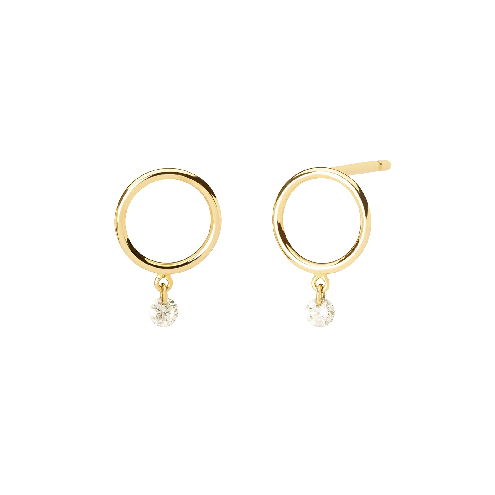 Persée Paris Boheme Single Diamond Earrings - Yellow Gold - Earrings - Broken English Jewelry