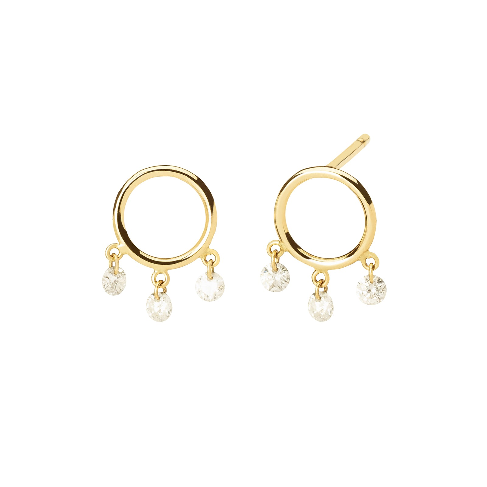 Persée Paris Boheme Trio Diamond Earrings - Yellow Gold - Earrings - Broken English Jewelry