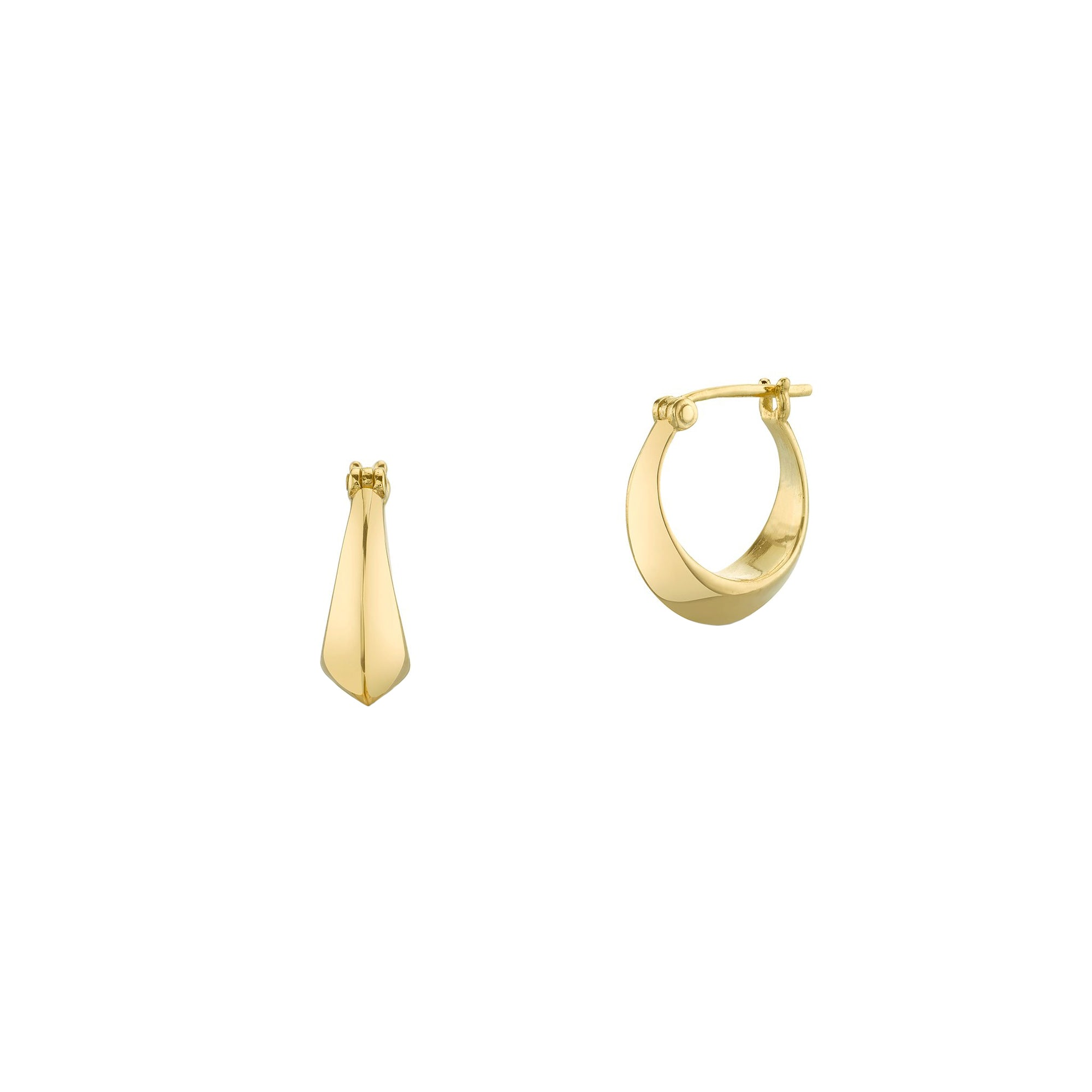Lizzie Mandler Crescent Huggies - Gold - Earrings - Broken English Jewelry