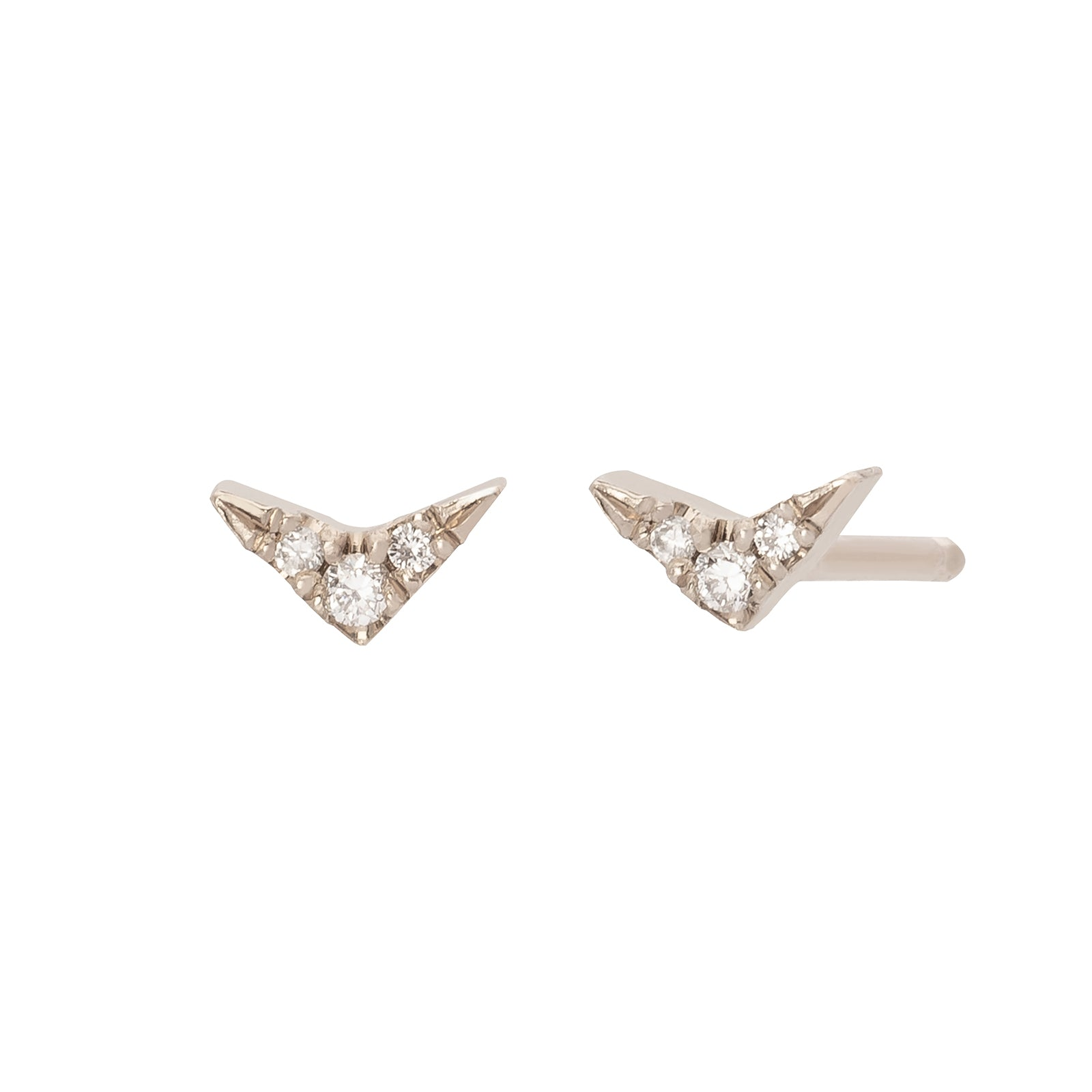 Lizzie Mandler Diamond Pave V Stud - White Gold - Earrings - Broken English Jewelry