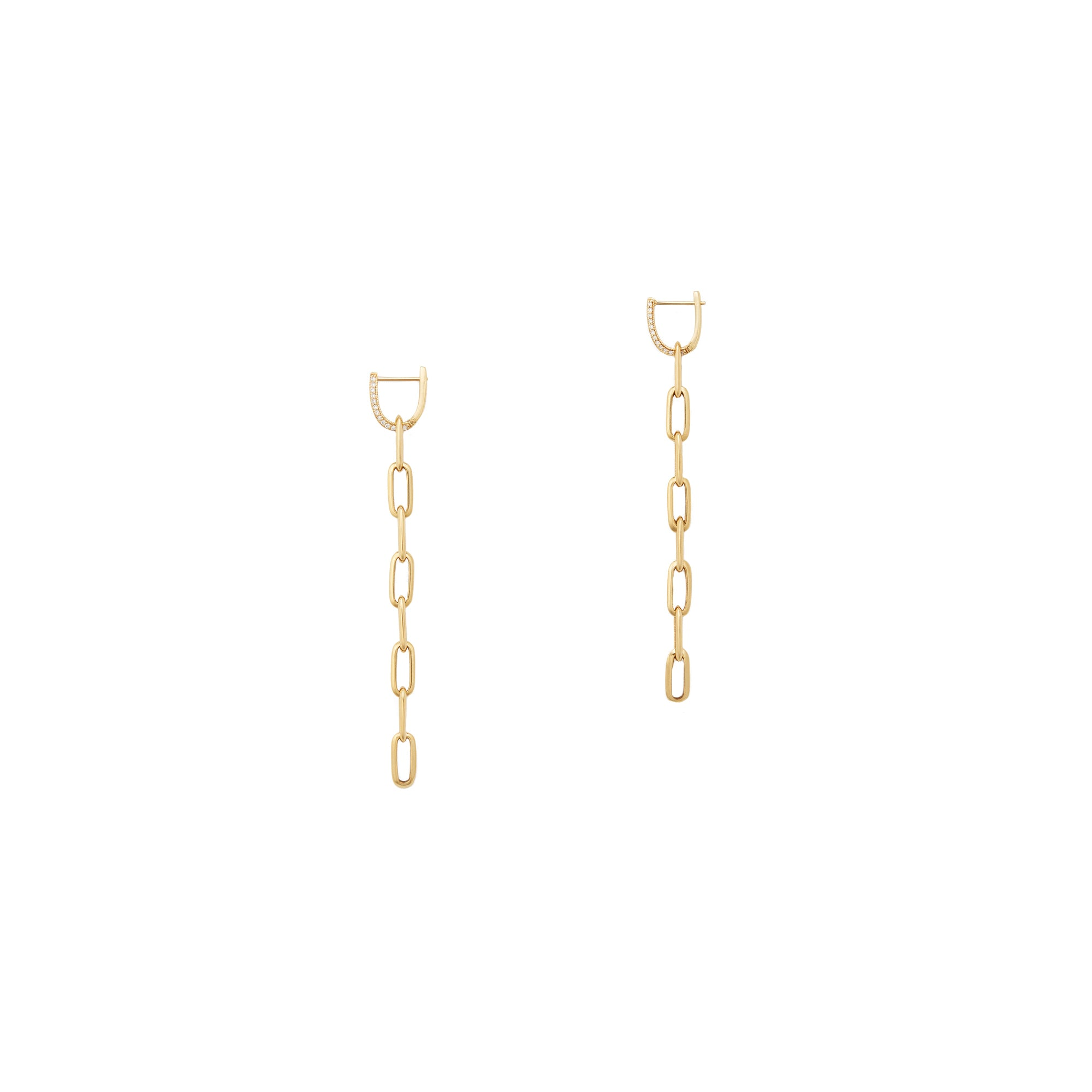 Lizzie Mandler Pave Knife Edge Link Drops - Gold - Earrings - Broken English Jewelry