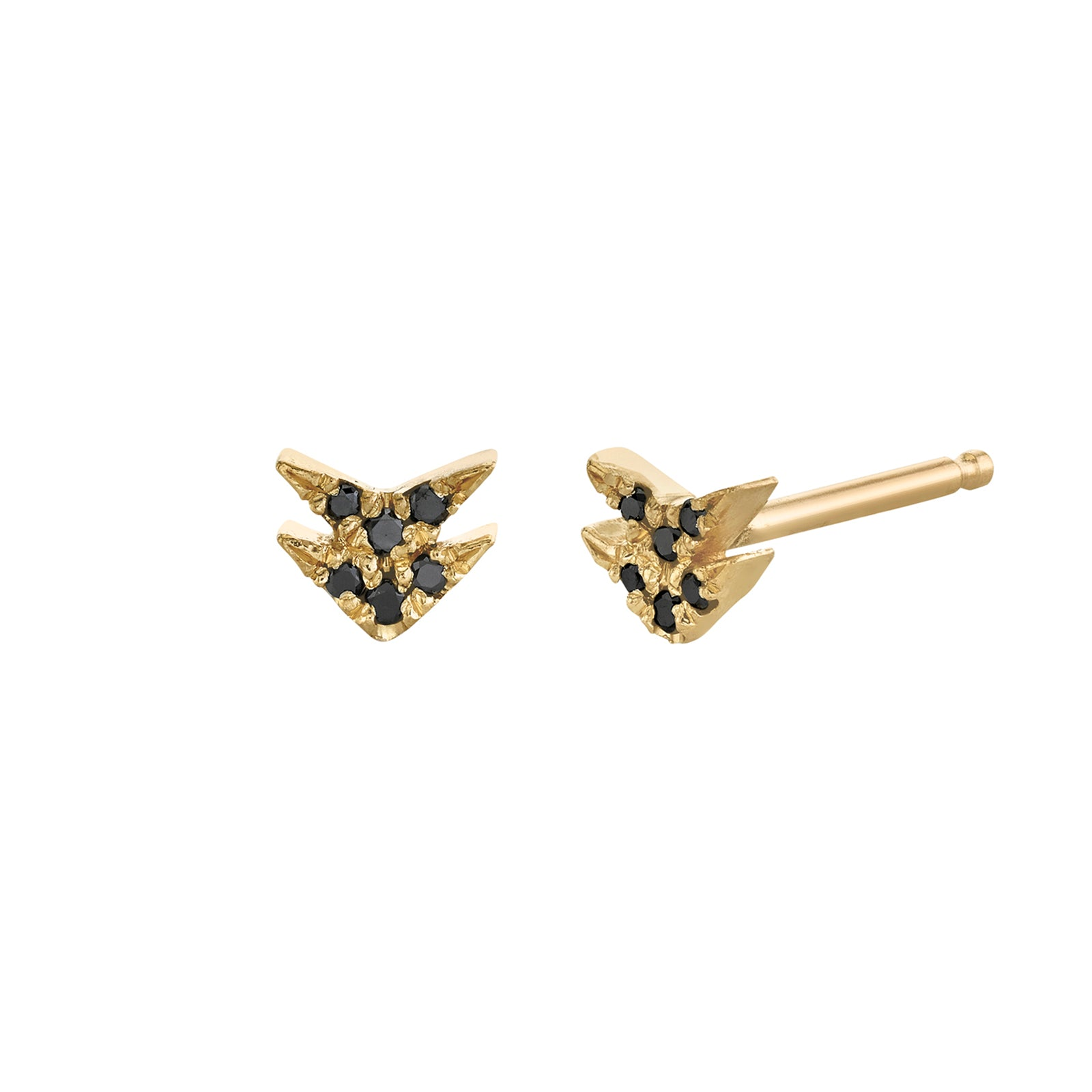Lizzie Mandler Double Black Diamond Pave V Stud - Yellow Gold - Earrings - Broken English Jewelry