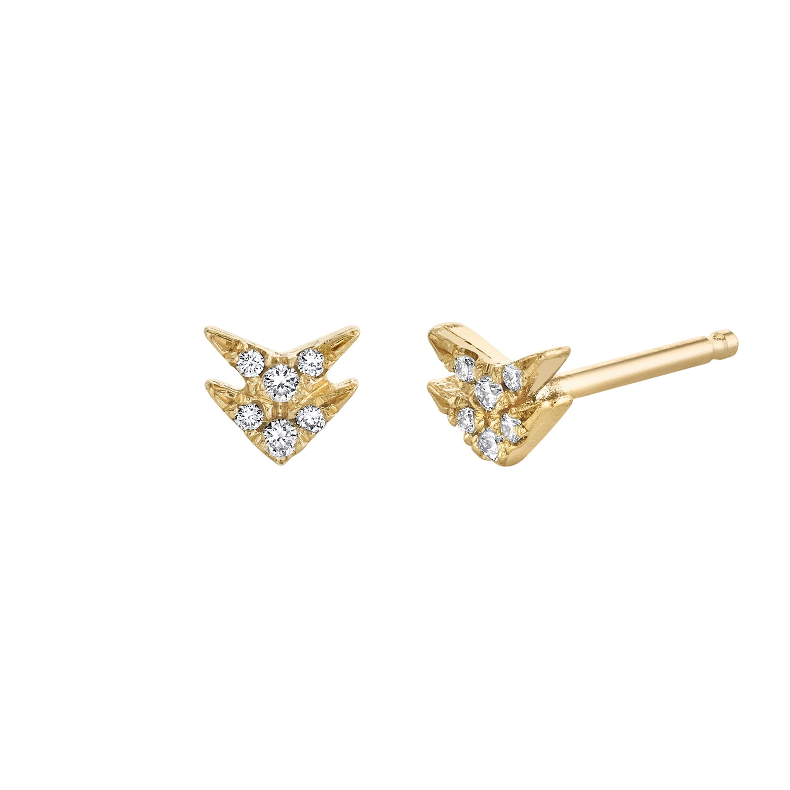 Lizzie Mandler Double Diamond Pave V Stud - Yellow Gold - Earrings - Broken English Jewelry