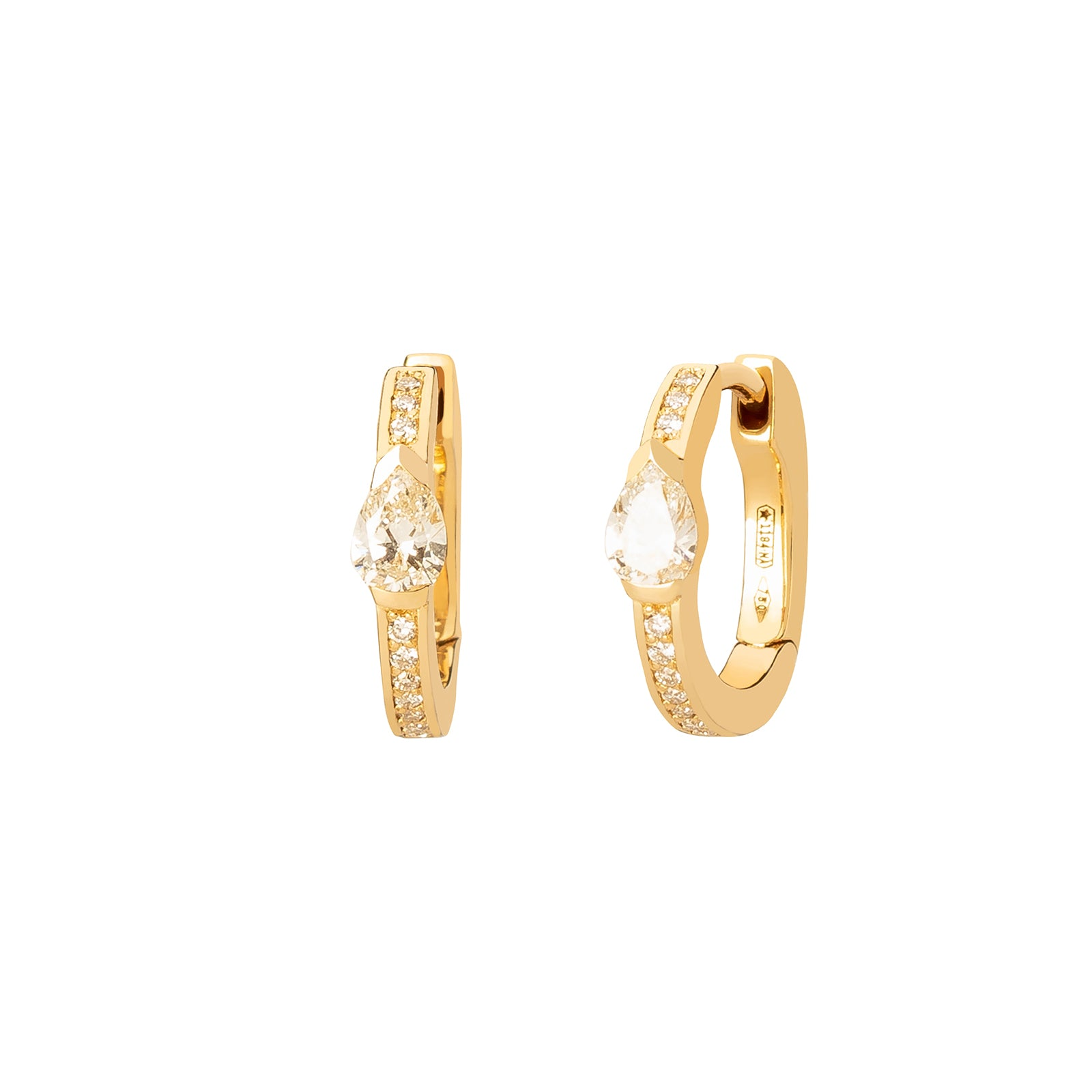 Colette Pave Diamond & Pear Huggies - Yellow Gold - Earrings - Broken English Jewelry
