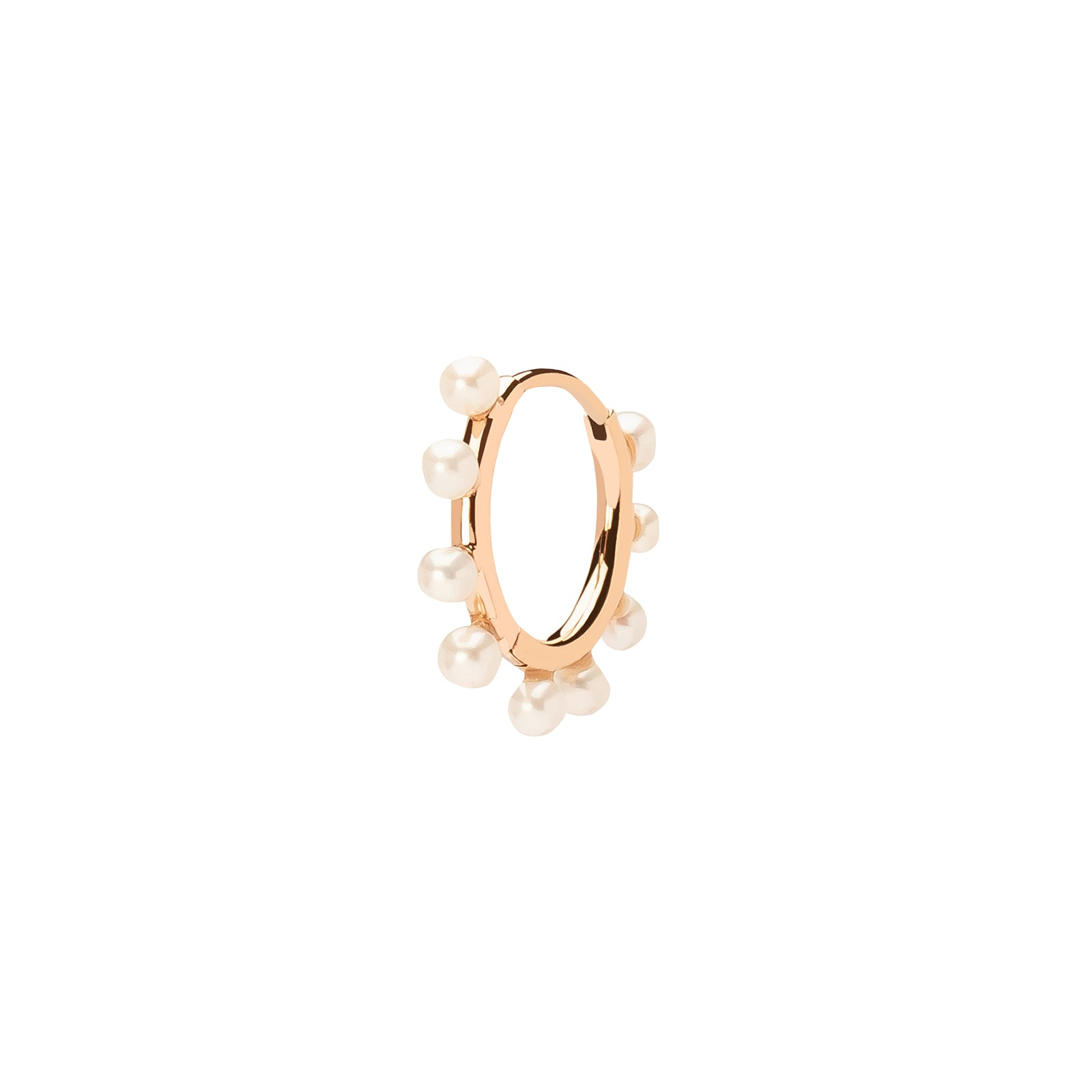 Persée Paris Multi Pearl Hoop Earring - Rose Gold - Earrings - Broken English Jewelry