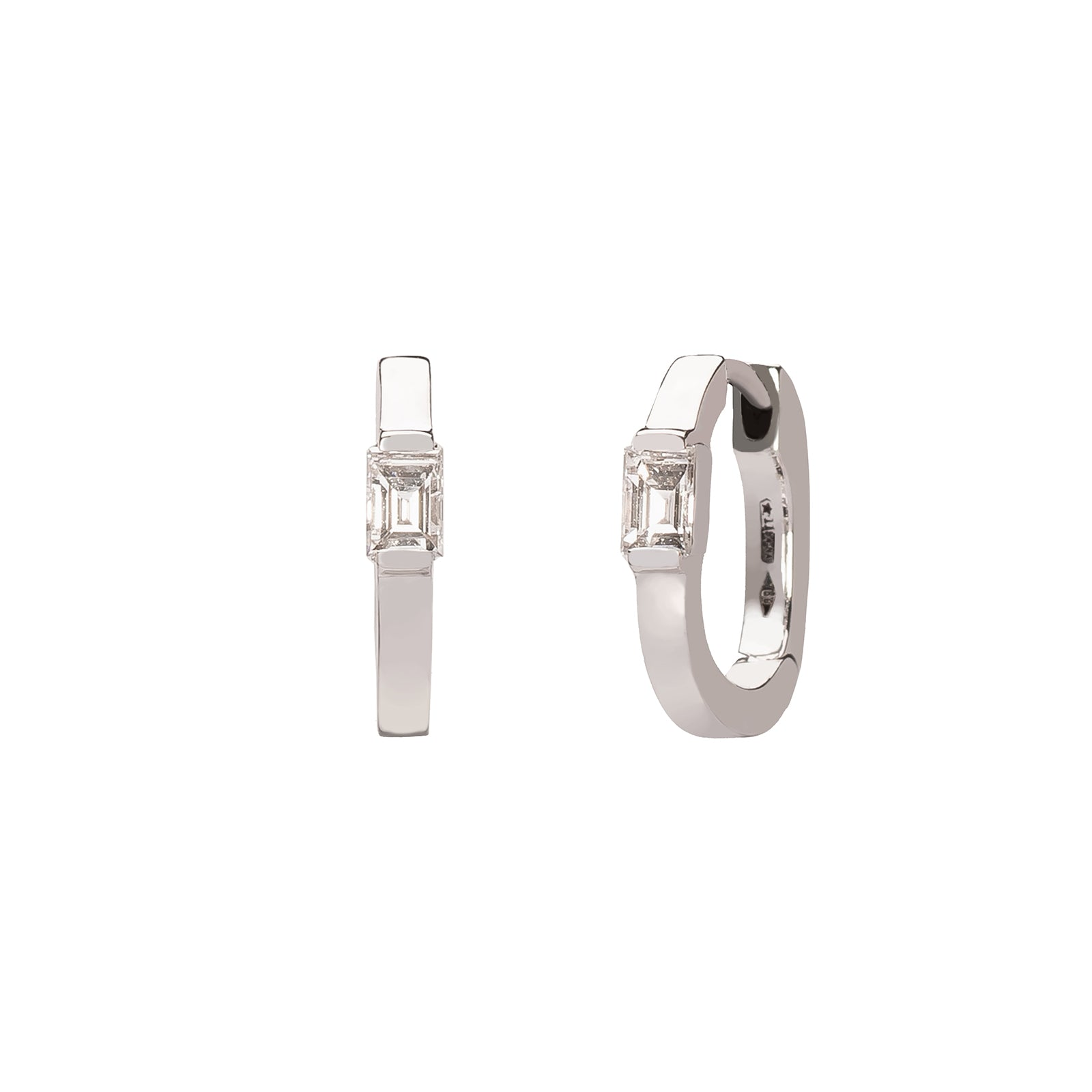 Colette Diamond Baguette Huggies - White Gold - Earrings - Broken English Jewelry