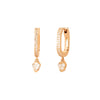 Colette Pave Diamond & Heart Drop Huggies - Rose Gold - Earrings - Broken English Jewelry
