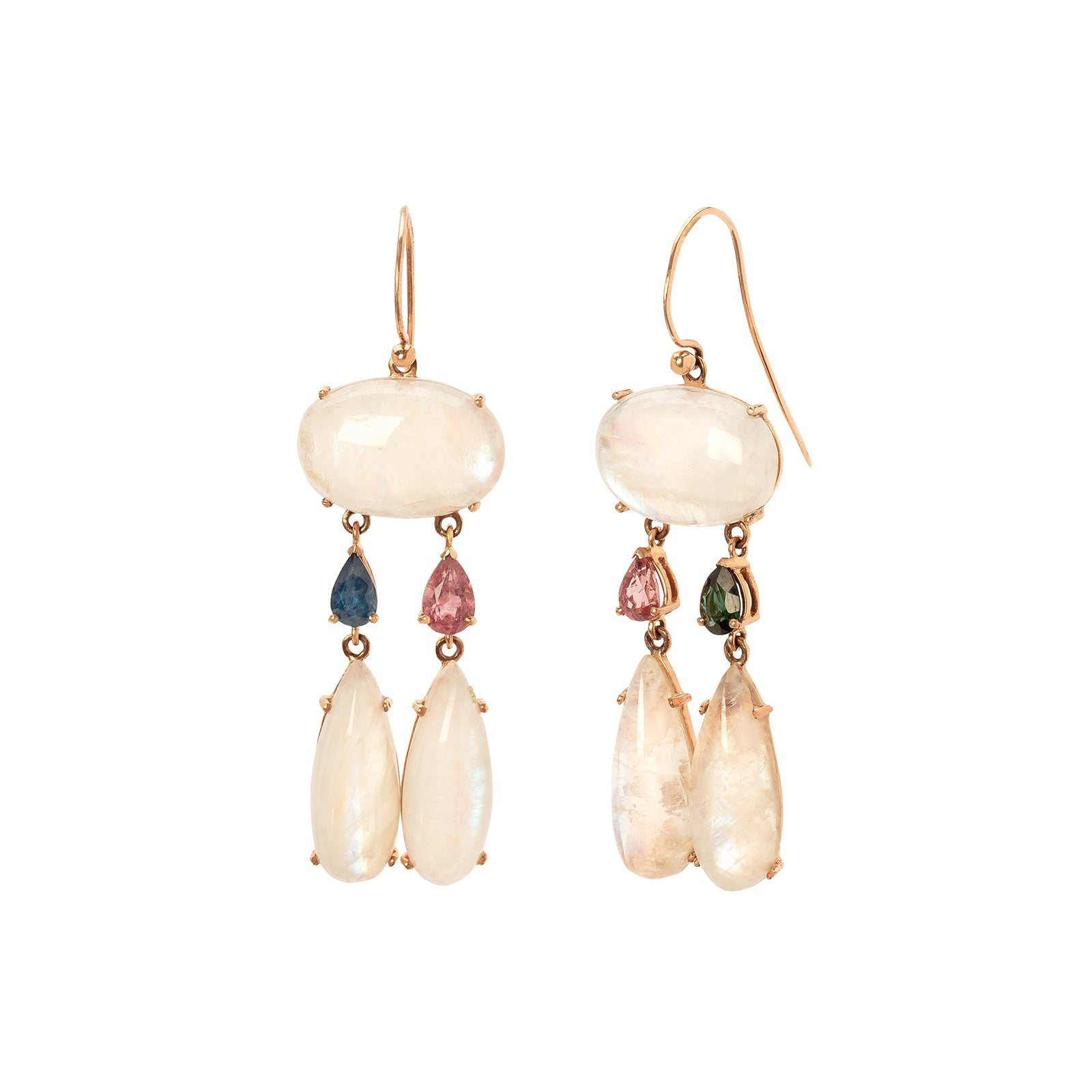Christina Alexiou Drop Earrings - Moonstone & Sapphire & Tourmaline - Earrings - Broken English Jewelry
