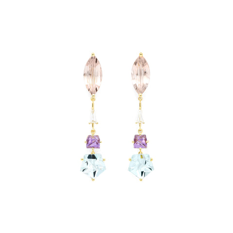 Morganite, Amethyst, Aquamarine and Diamond KLAR Drop Earrings - MISUI - Earrings | Broken English Jewelry