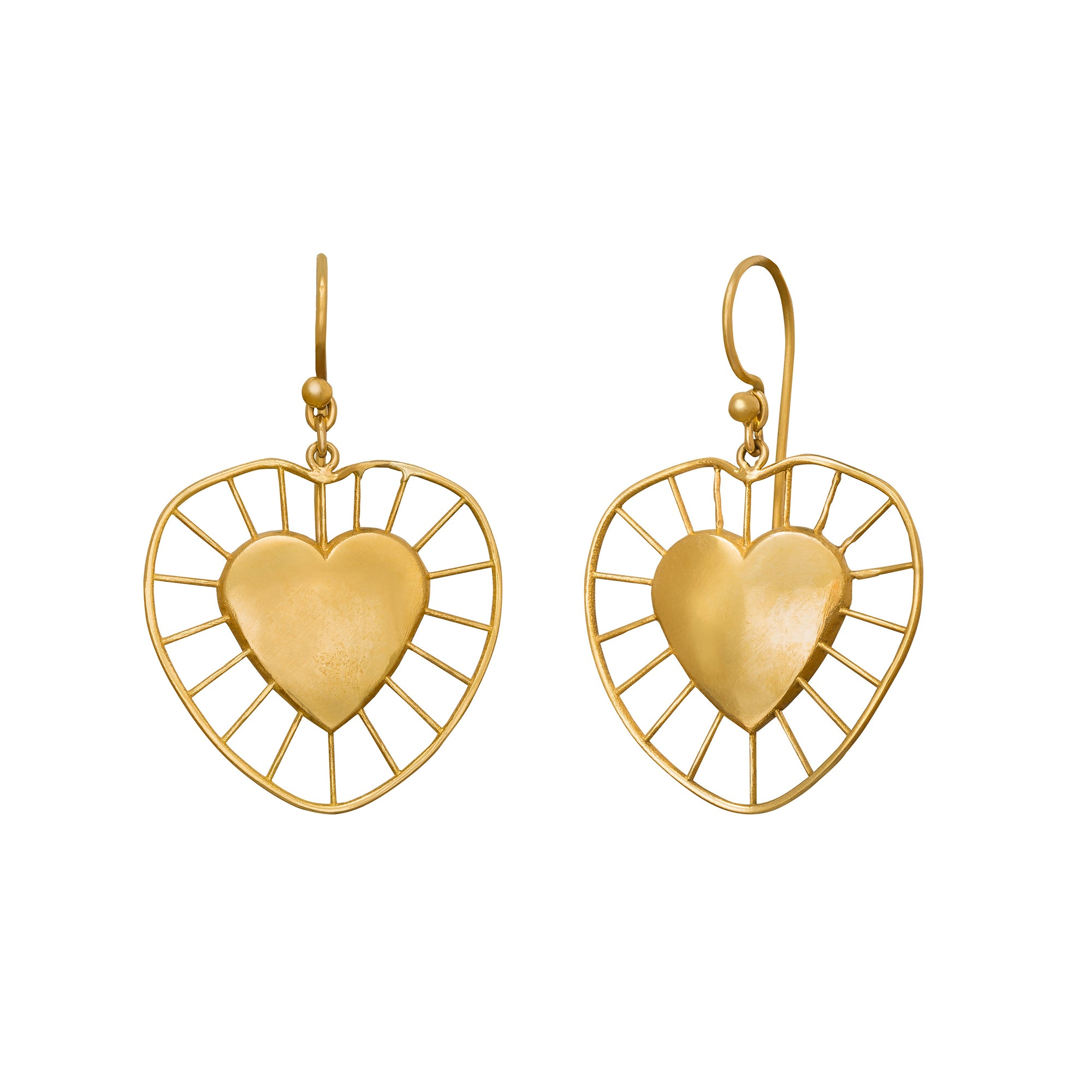 Small Radial Heart Drop Earrings - Christina Alexiou - Earrings | Broken English Jewelry