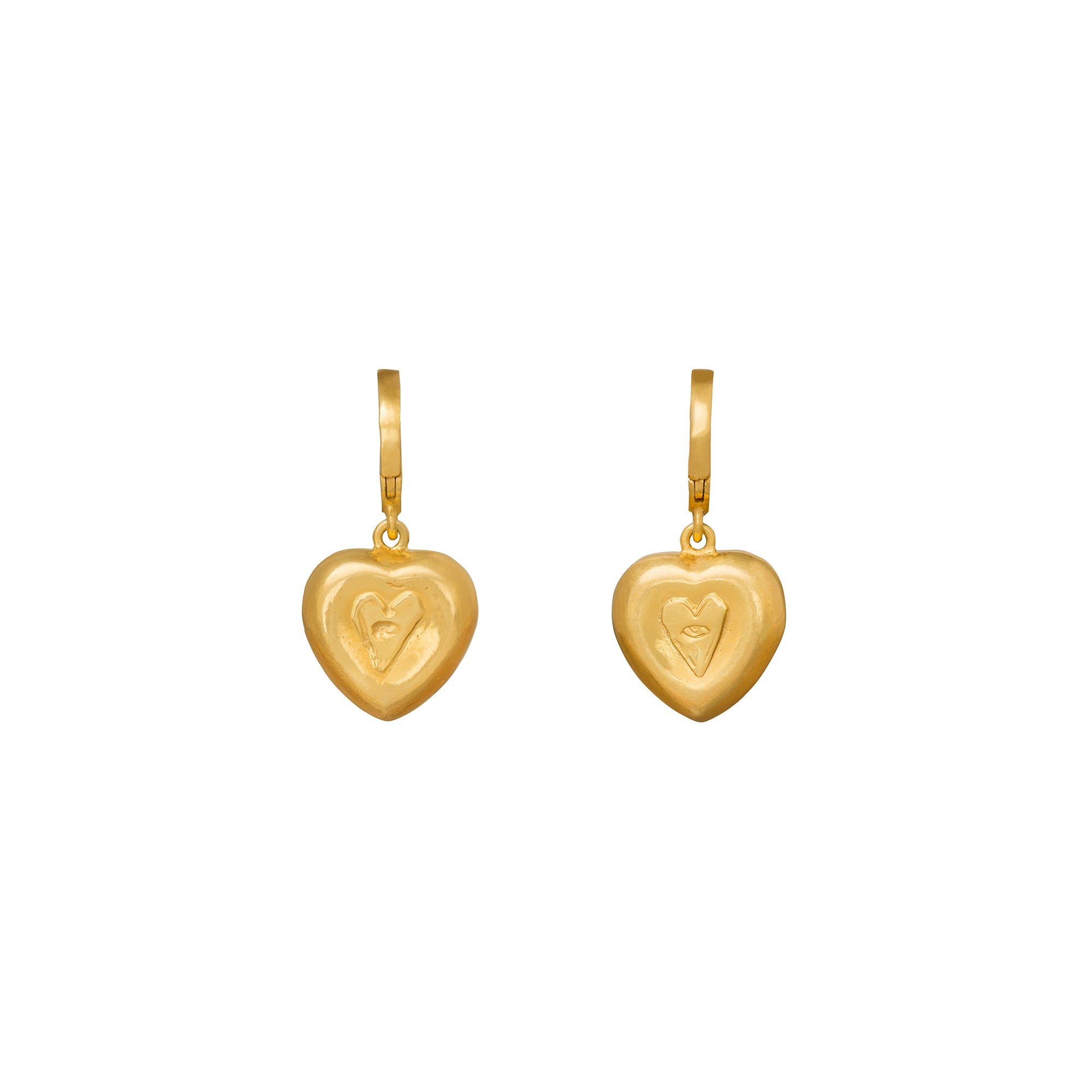 Puffy Heart Huggies - Christina Alexiou - Earrings | Broken English Jewelry