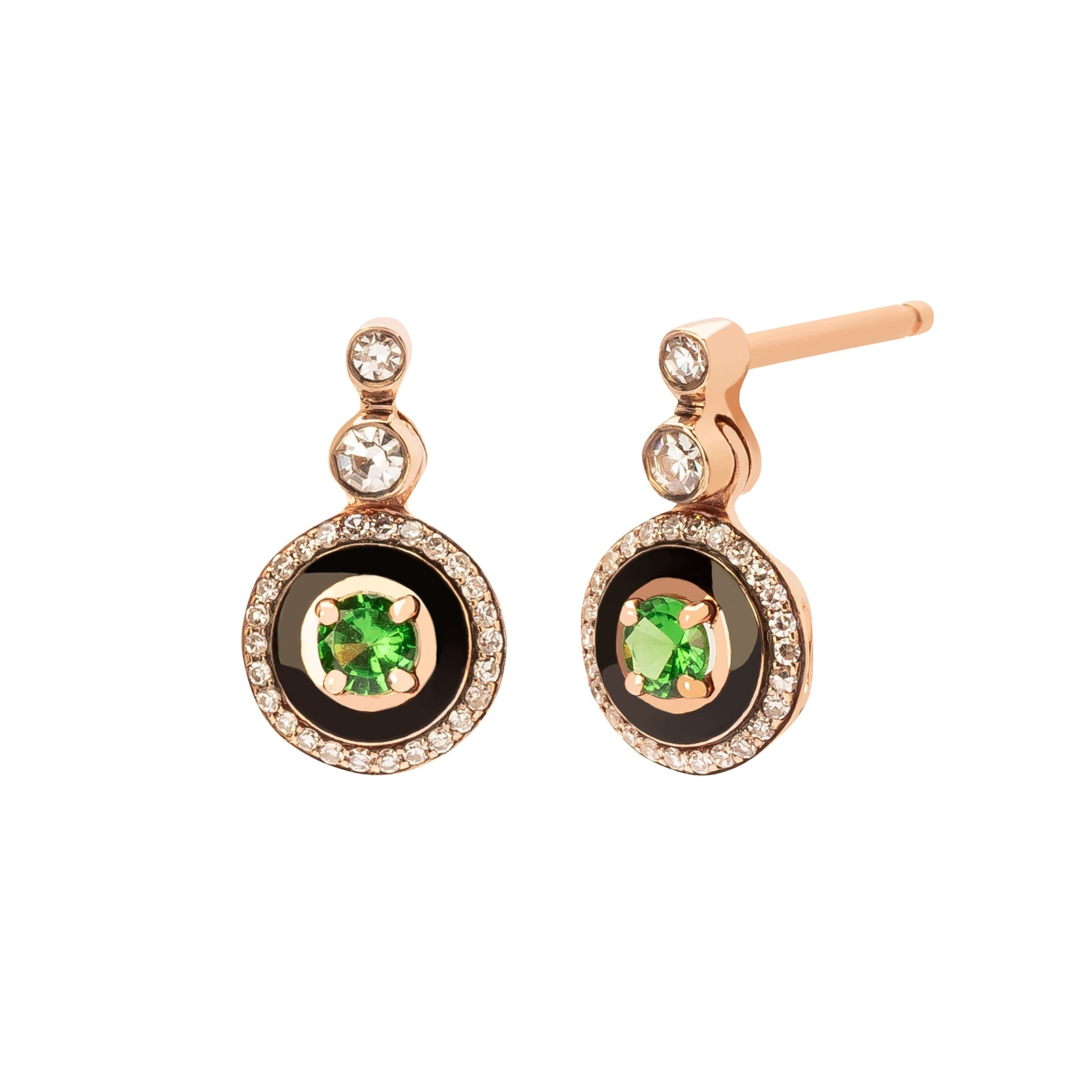 Selim Mouzannar Mina Tsavorite & Diamond Drop Earrings - Rose Gold - Earrings - Broken English Jewelry
