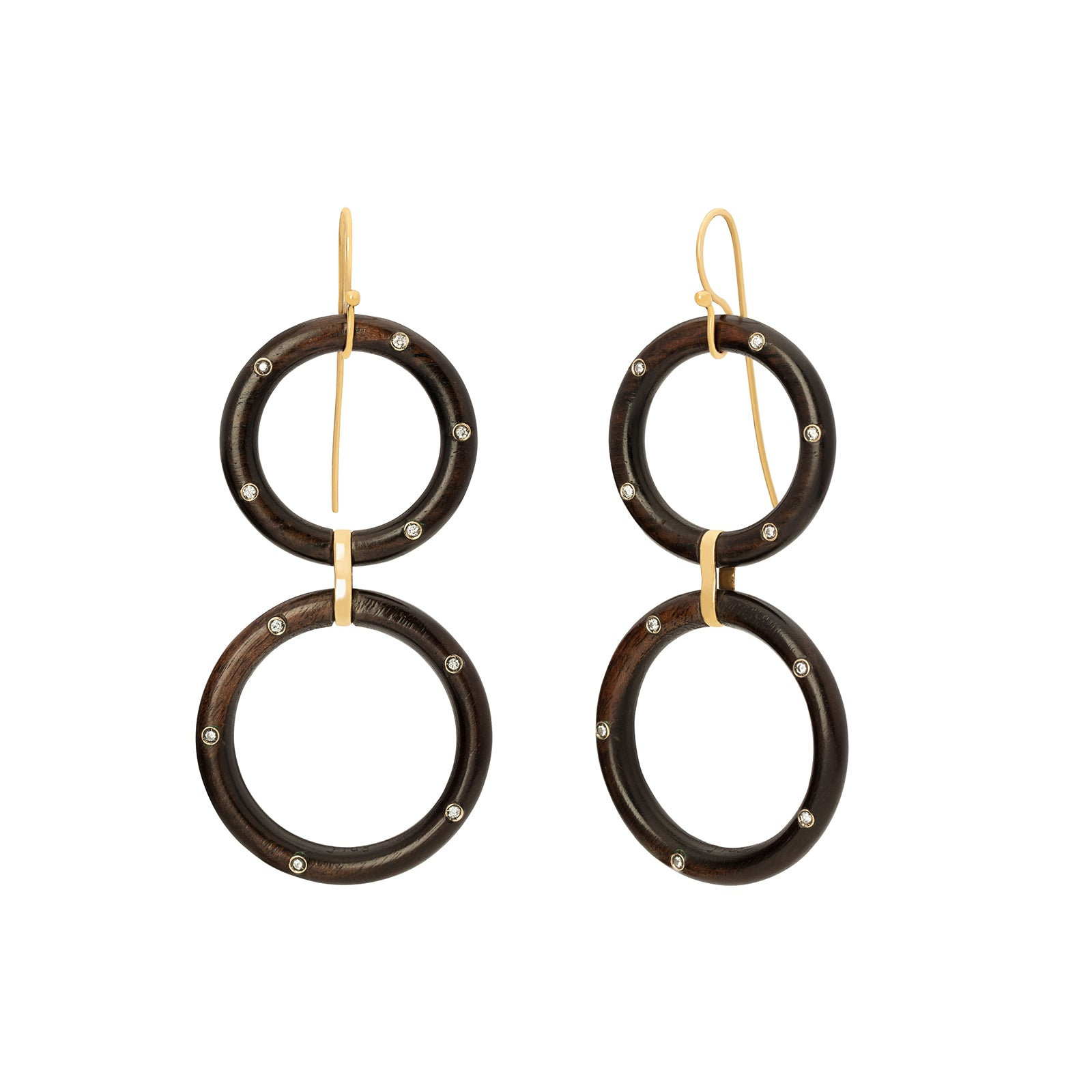Rosa de la Cruz Ebony Hoop Earrings - White Diamond - Earrings - Broken English Jewelry