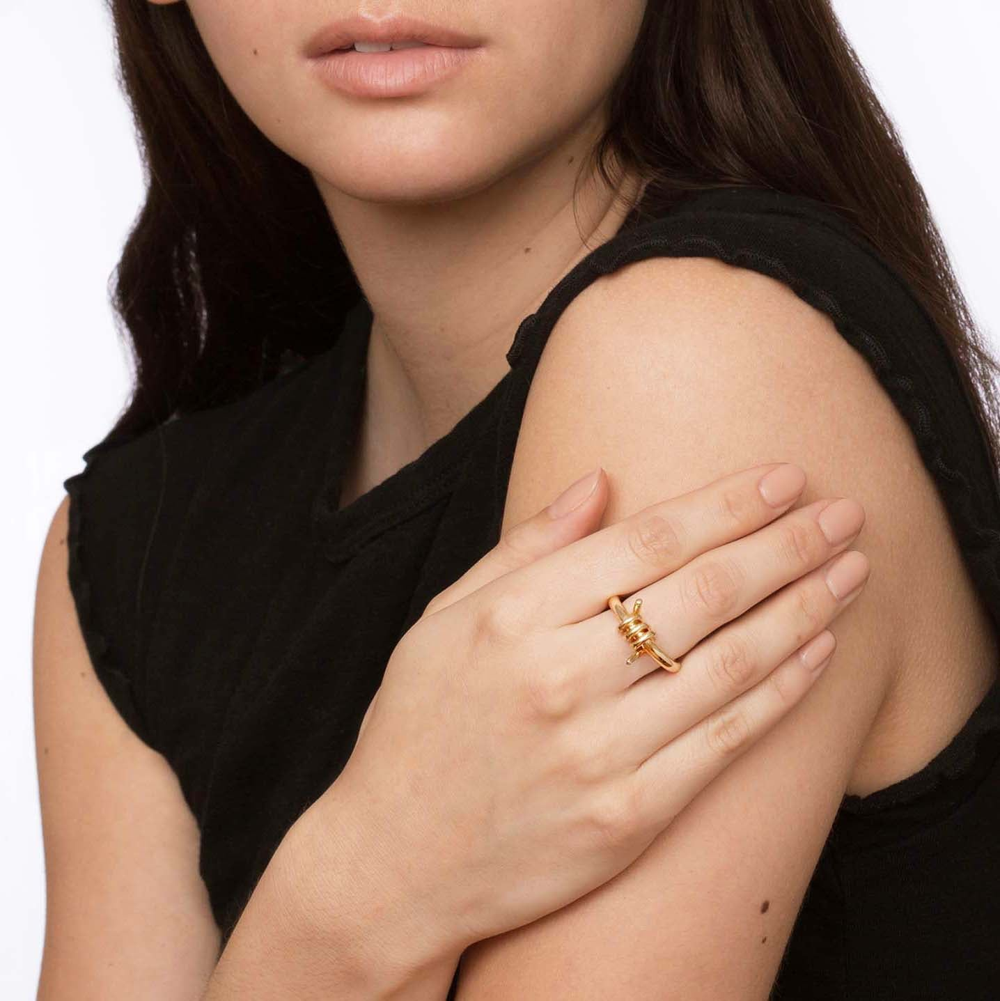 Gold Barbed Wire Ring by Established for Broken English Jewelry